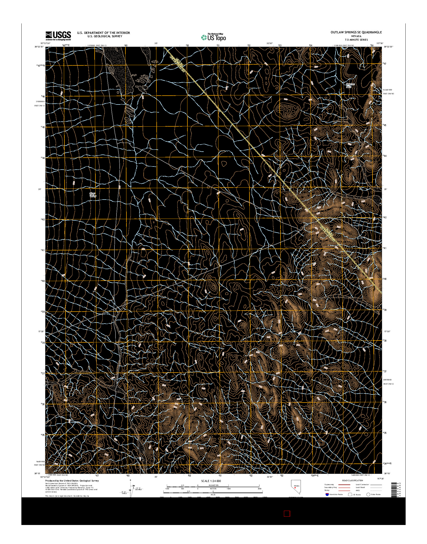 USGS US TOPO 7.5-MINUTE MAP FOR OUTLAW SPRINGS SE, NV 2014
