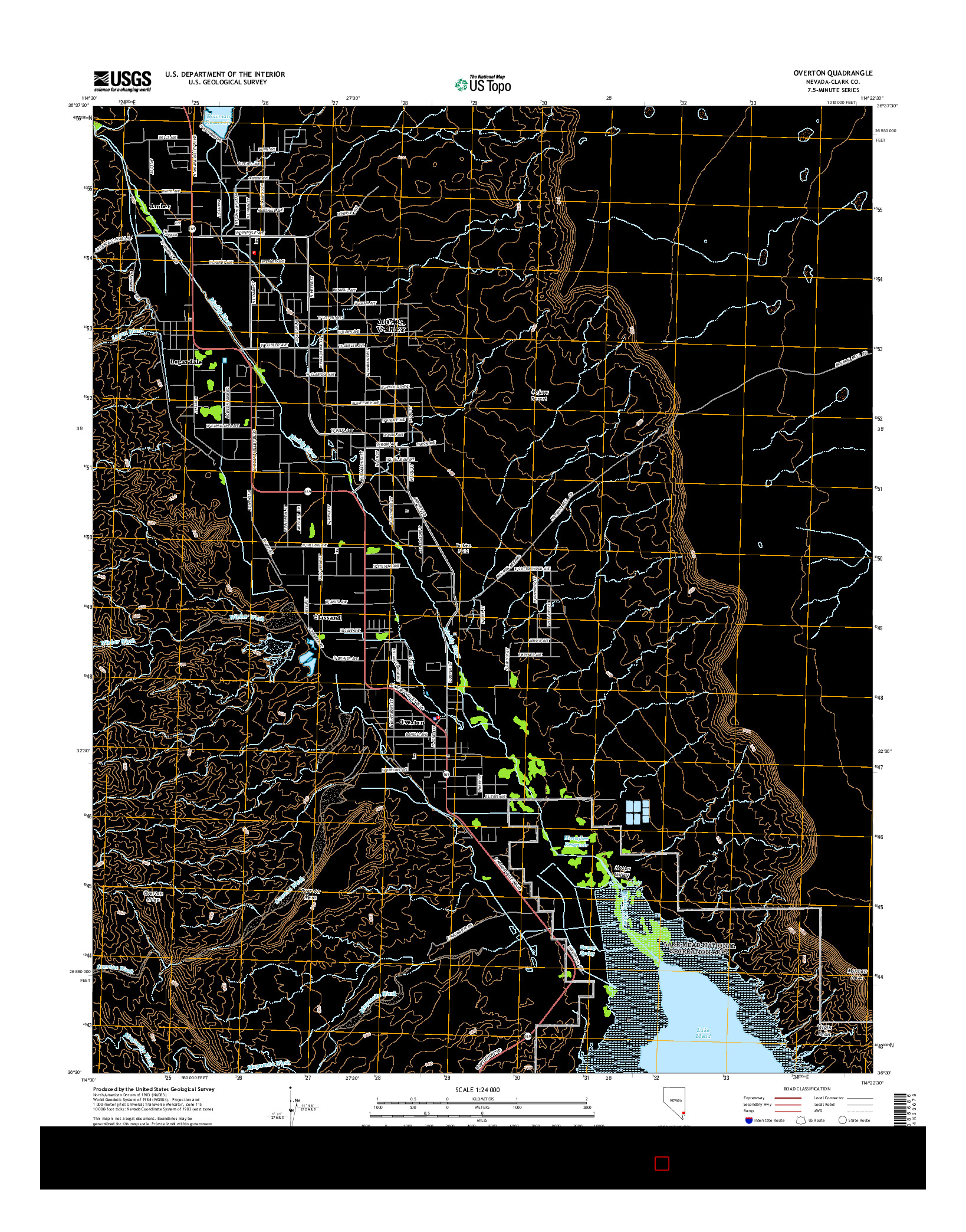 USGS US TOPO 7.5-MINUTE MAP FOR OVERTON, NV 2014