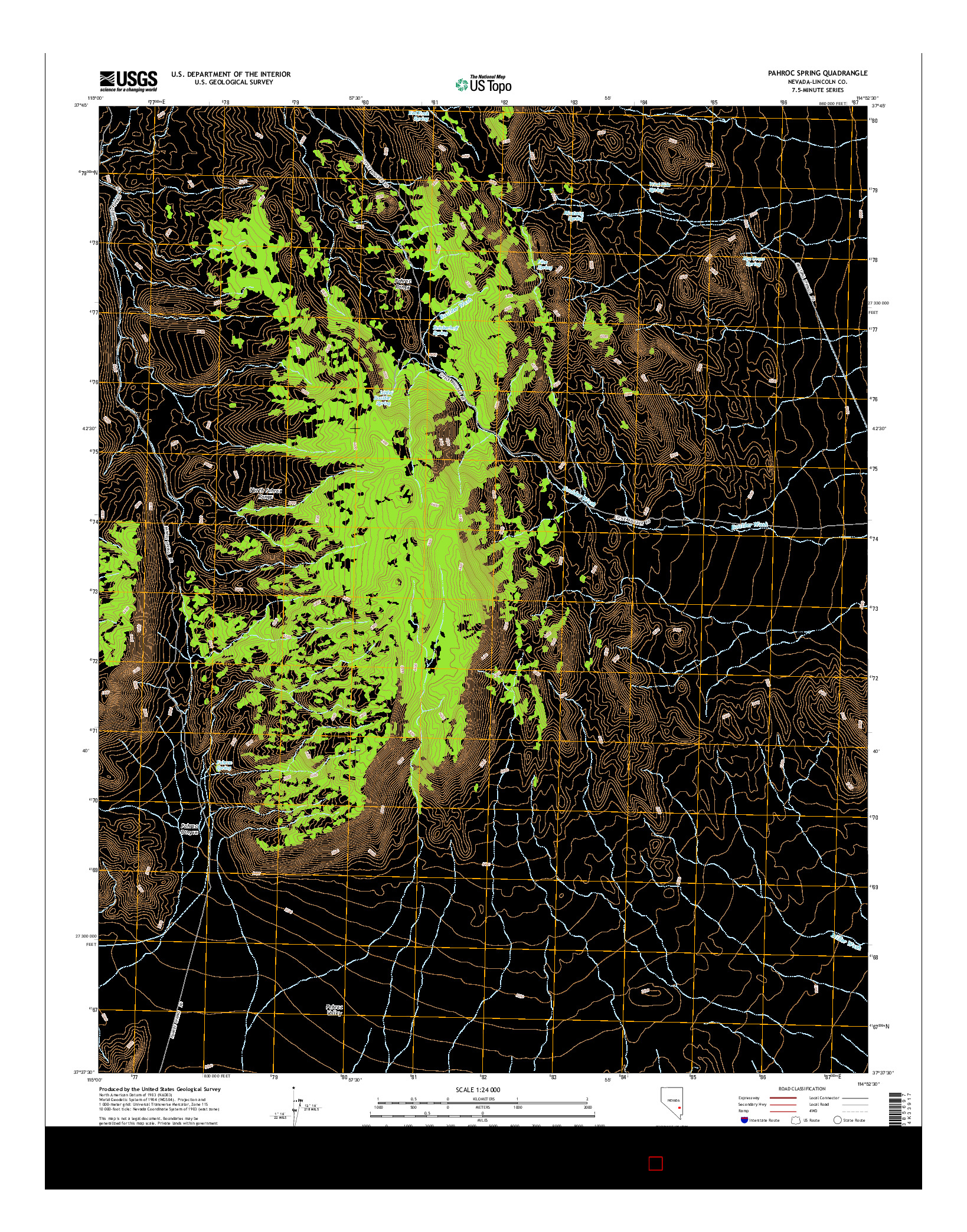 USGS US TOPO 7.5-MINUTE MAP FOR PAHROC SPRING, NV 2014
