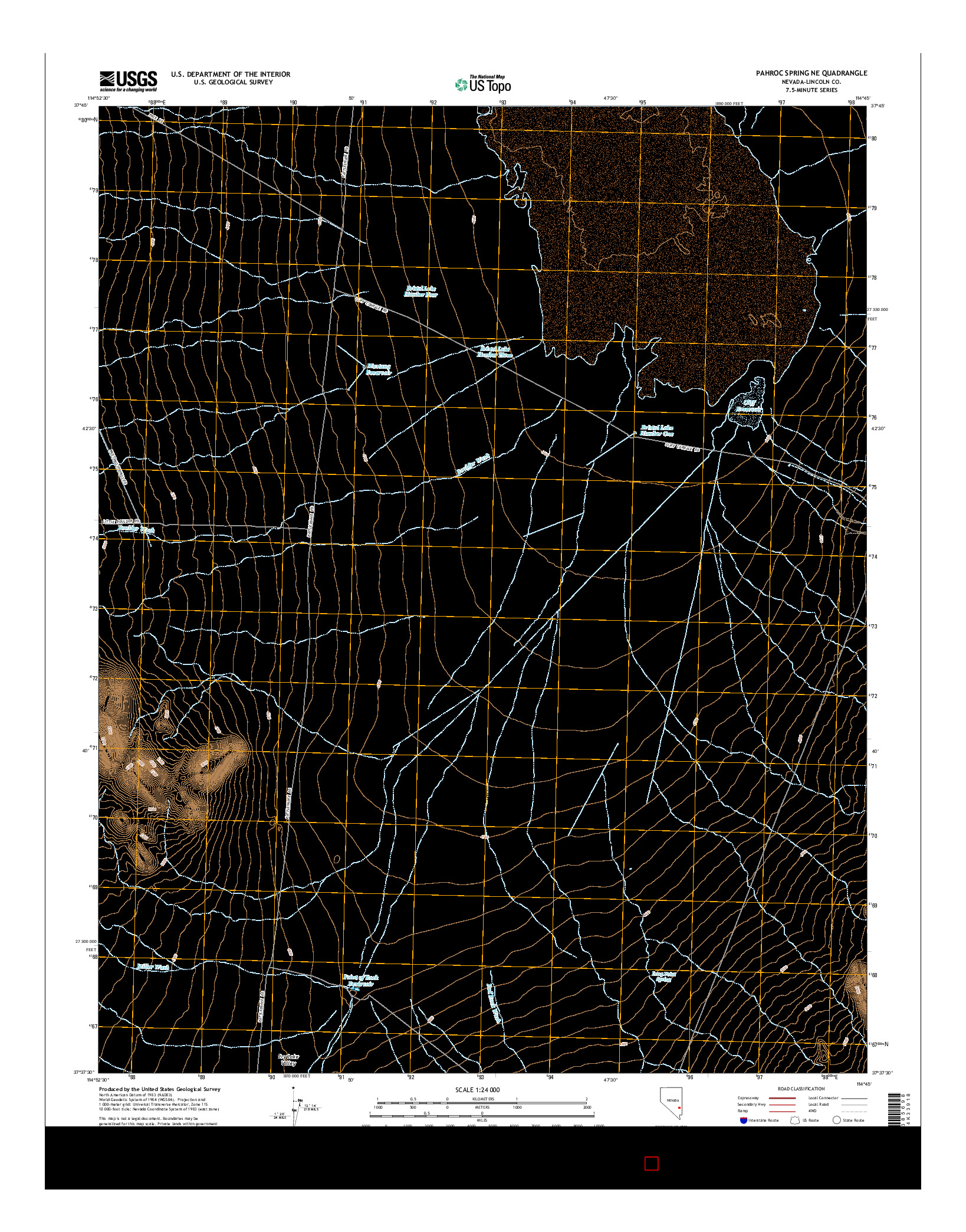 USGS US TOPO 7.5-MINUTE MAP FOR PAHROC SPRING NE, NV 2014