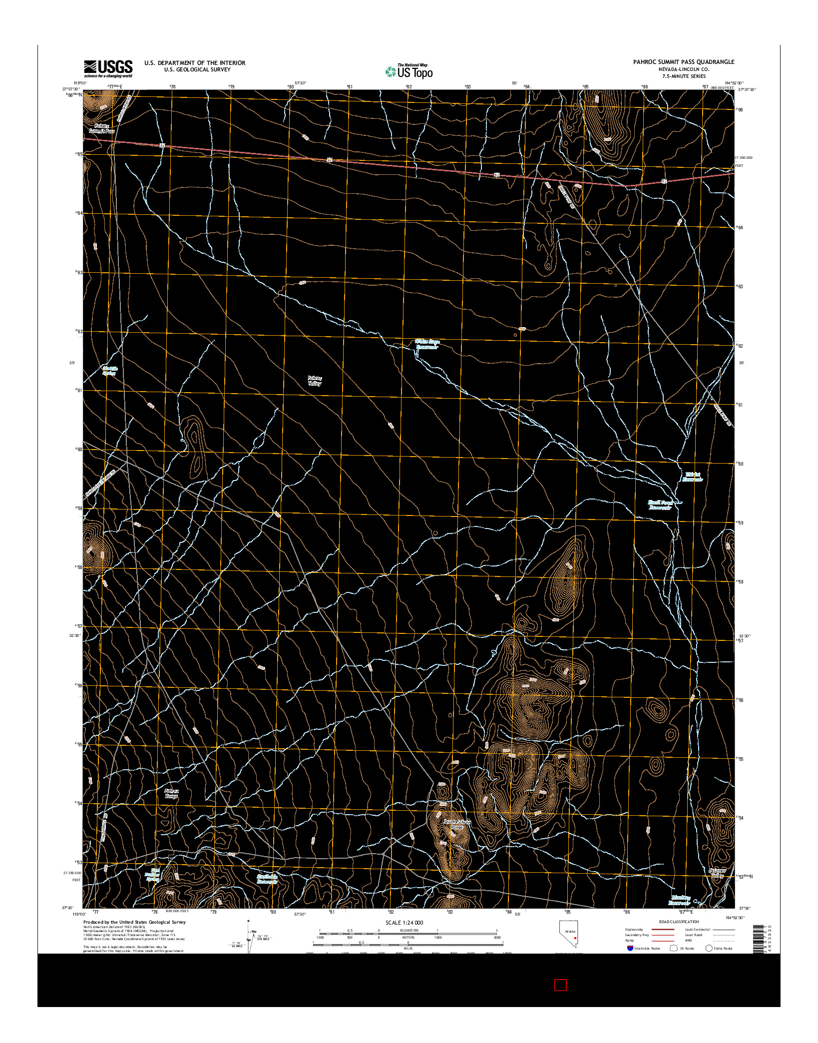 USGS US TOPO 7.5-MINUTE MAP FOR PAHROC SUMMIT PASS, NV 2014