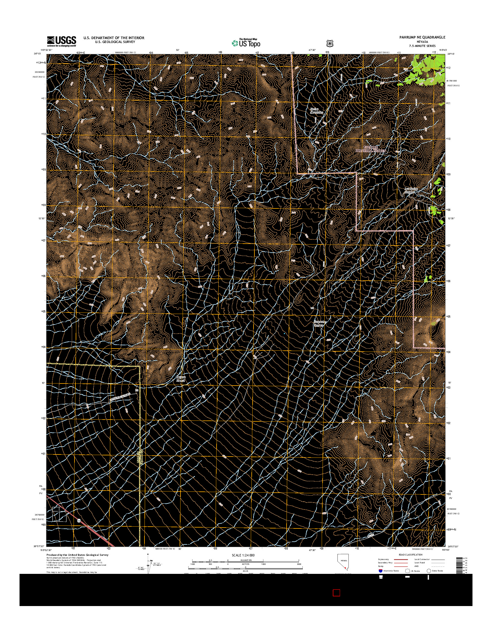 USGS US TOPO 7.5-MINUTE MAP FOR PAHRUMP NE, NV 2014