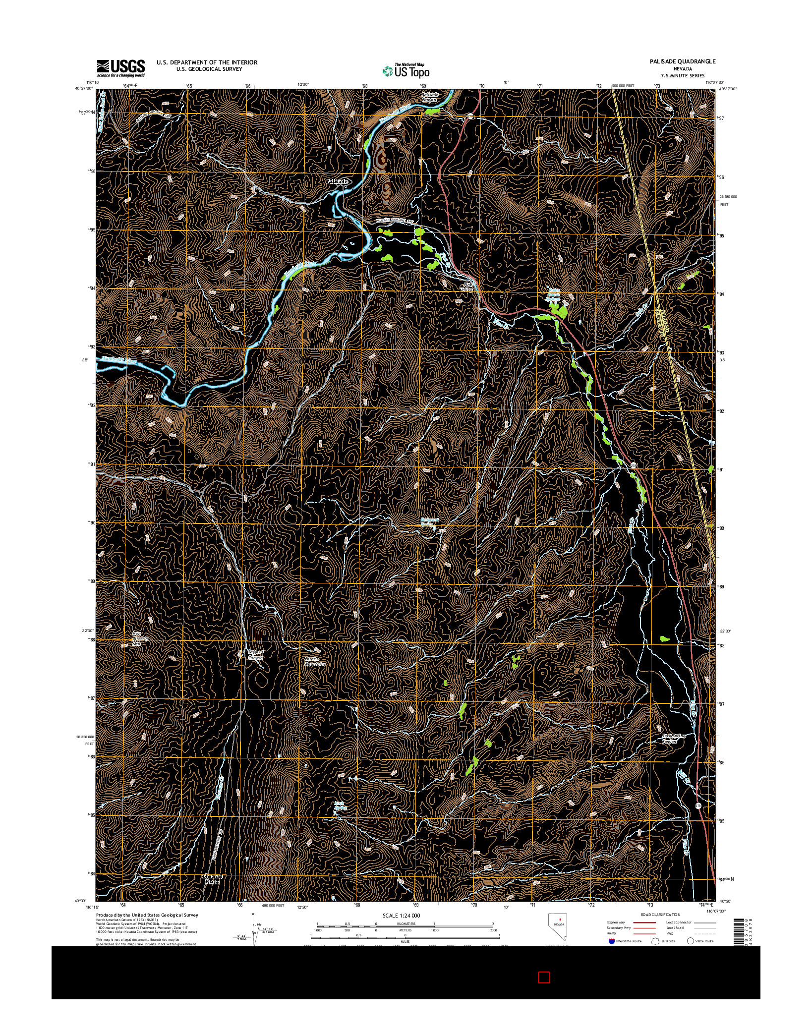 USGS US TOPO 7.5-MINUTE MAP FOR PALISADE, NV 2014