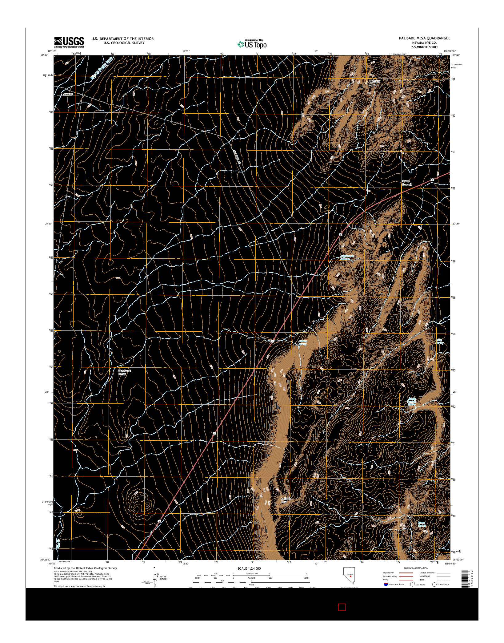 USGS US TOPO 7.5-MINUTE MAP FOR PALISADE MESA, NV 2014
