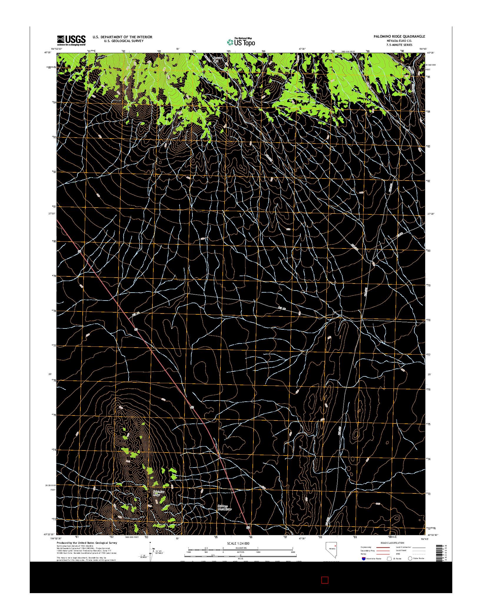 USGS US TOPO 7.5-MINUTE MAP FOR PALOMINO RIDGE, NV 2014