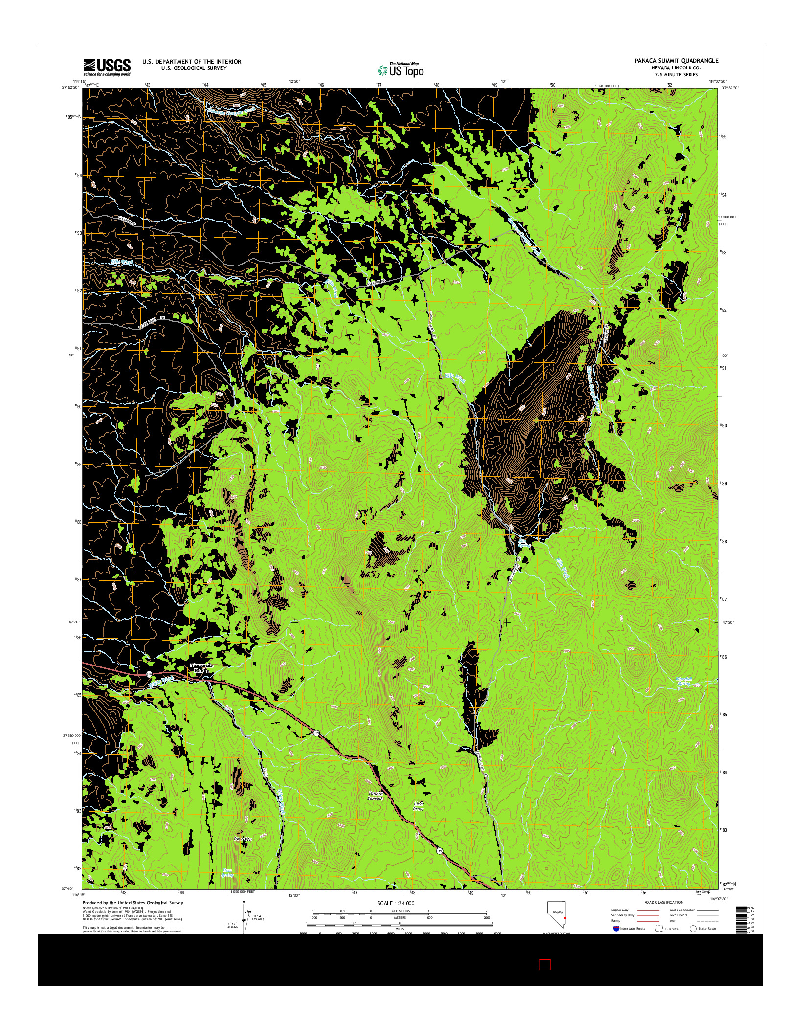 USGS US TOPO 7.5-MINUTE MAP FOR PANACA SUMMIT, NV 2014