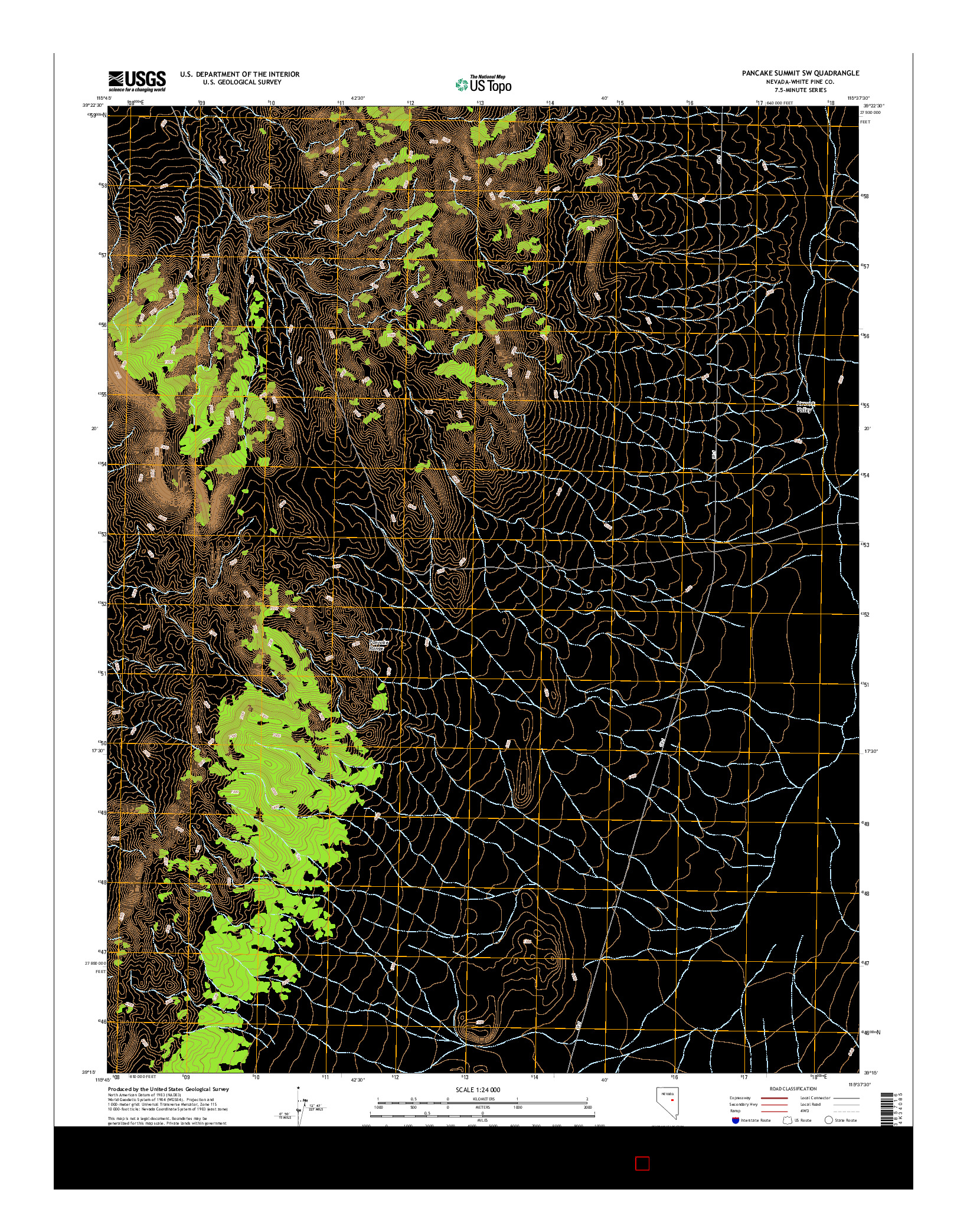 USGS US TOPO 7.5-MINUTE MAP FOR PANCAKE SUMMIT SW, NV 2014
