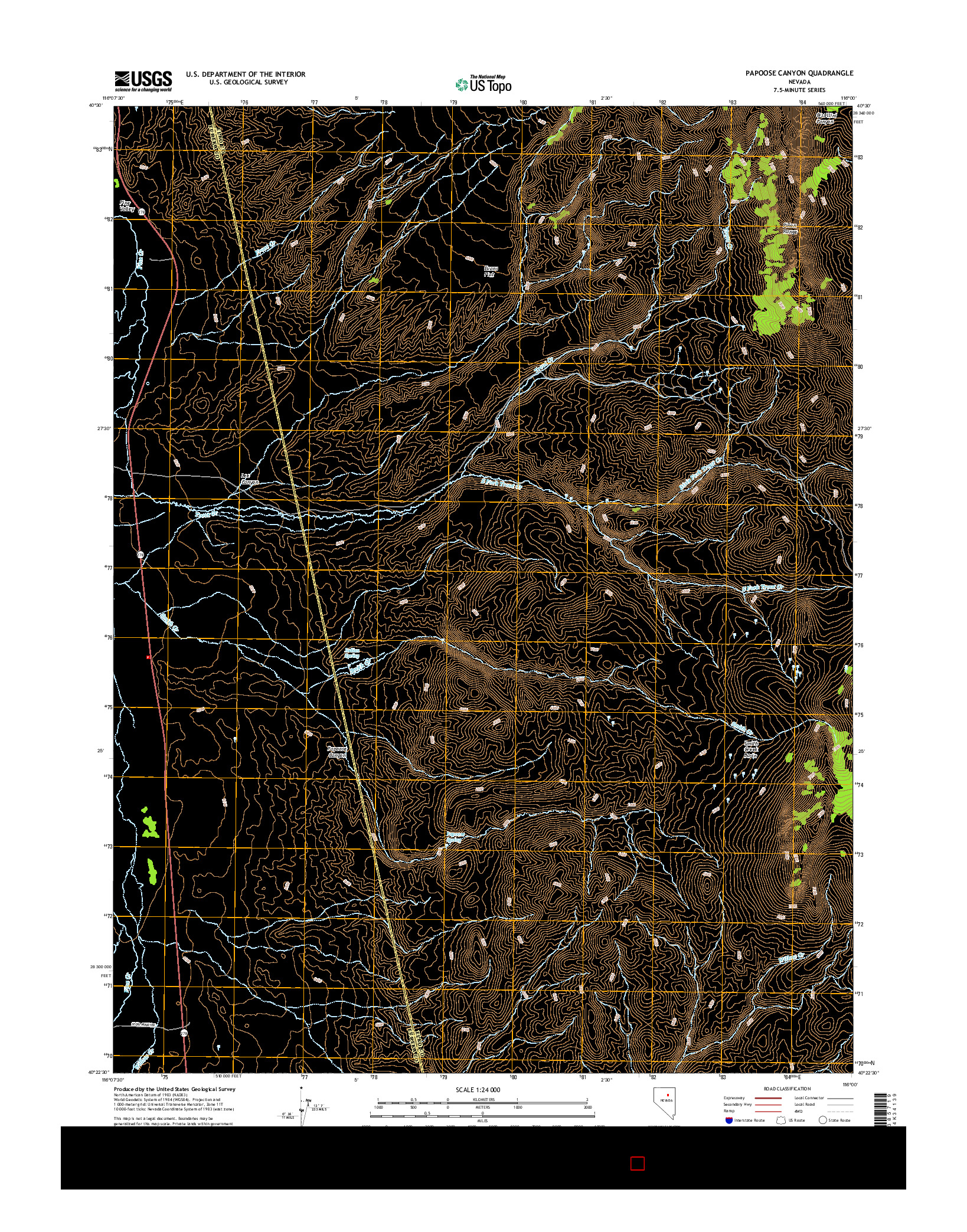 USGS US TOPO 7.5-MINUTE MAP FOR PAPOOSE CANYON, NV 2014
