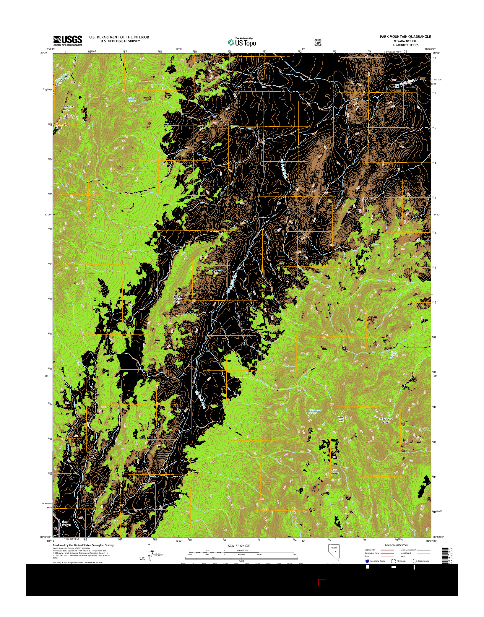 USGS US TOPO 7.5-MINUTE MAP FOR PARK MOUNTAIN, NV 2014