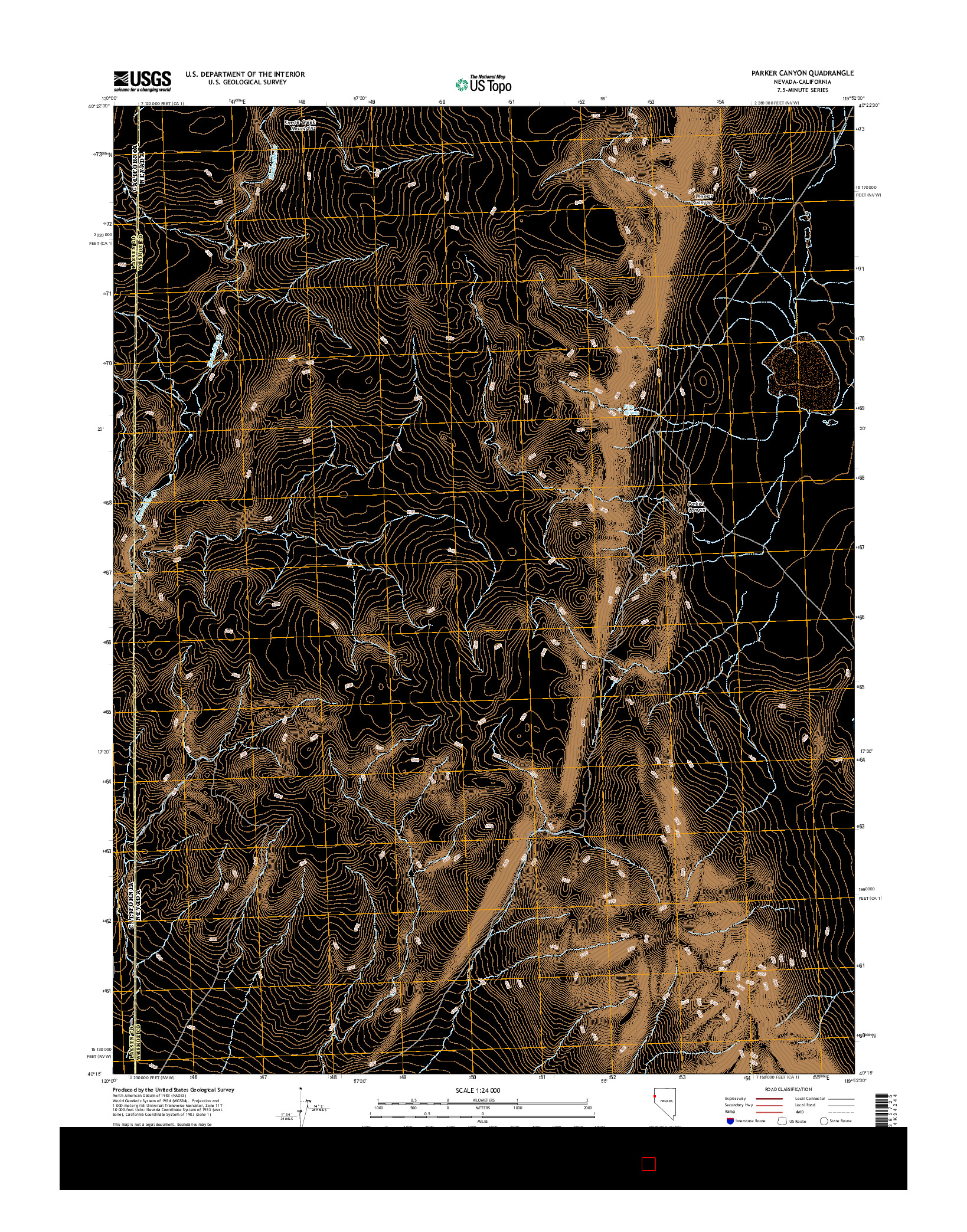 USGS US TOPO 7.5-MINUTE MAP FOR PARKER CANYON, NV-CA 2014