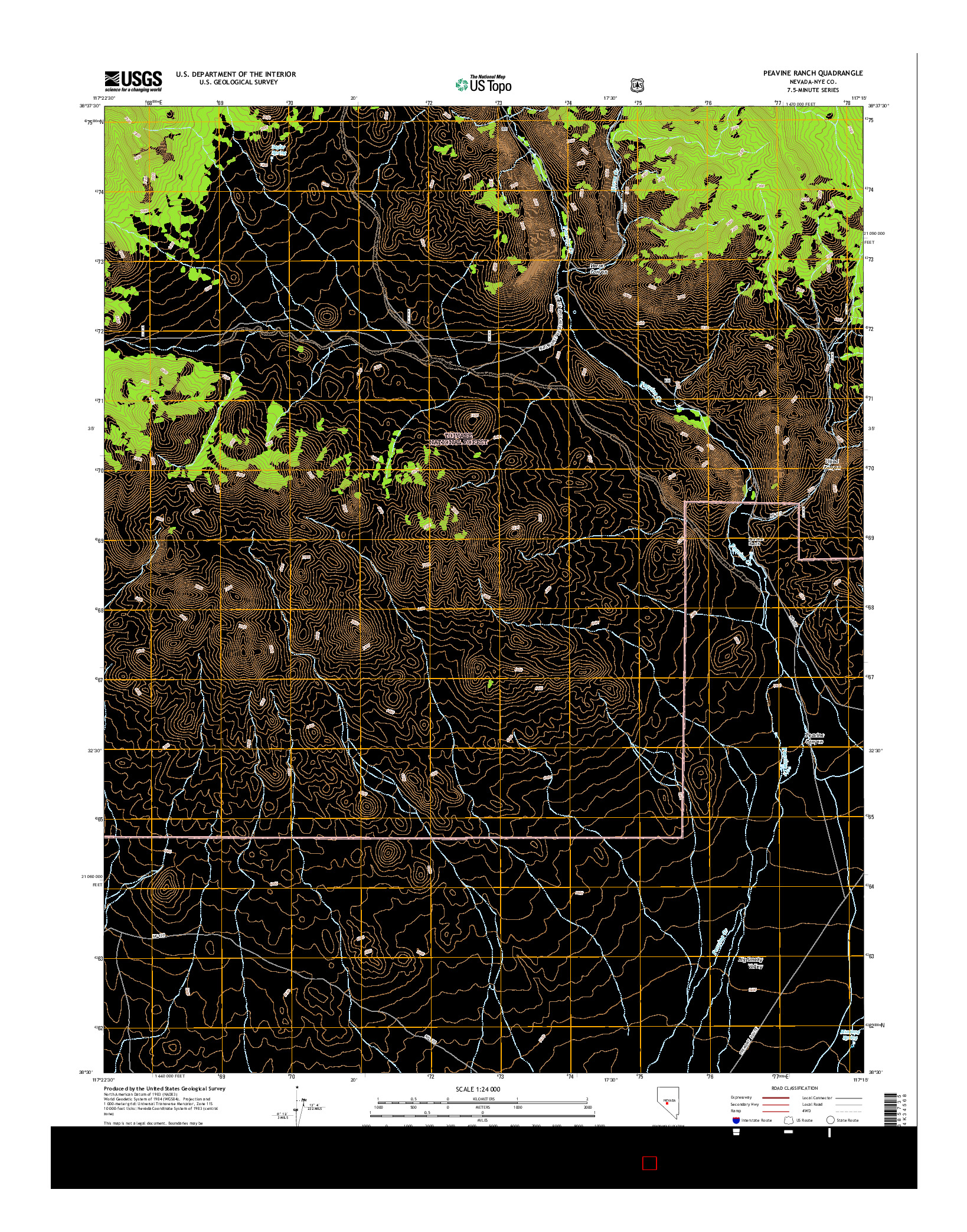 USGS US TOPO 7.5-MINUTE MAP FOR PEAVINE RANCH, NV 2014