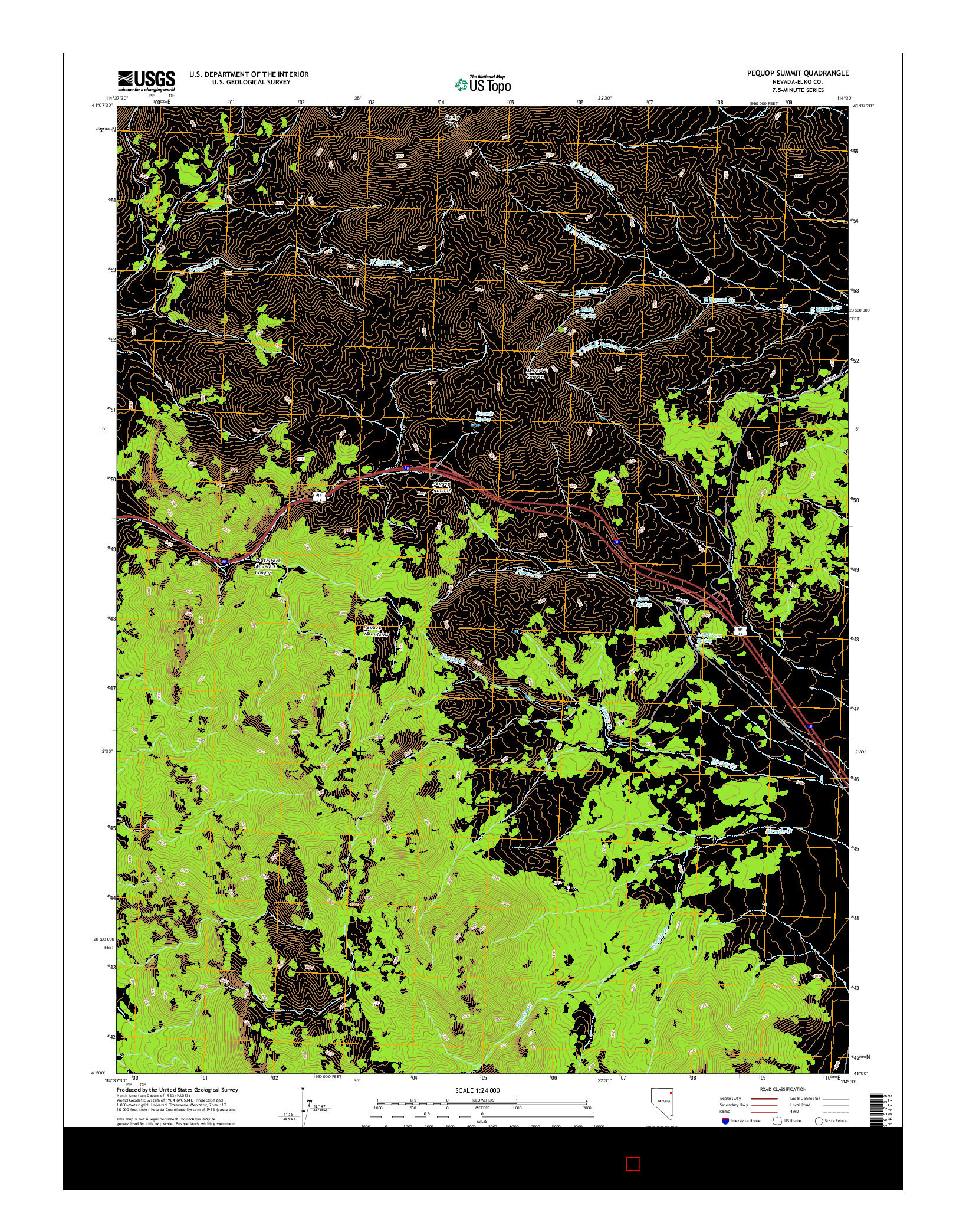USGS US TOPO 7.5-MINUTE MAP FOR PEQUOP SUMMIT, NV 2014