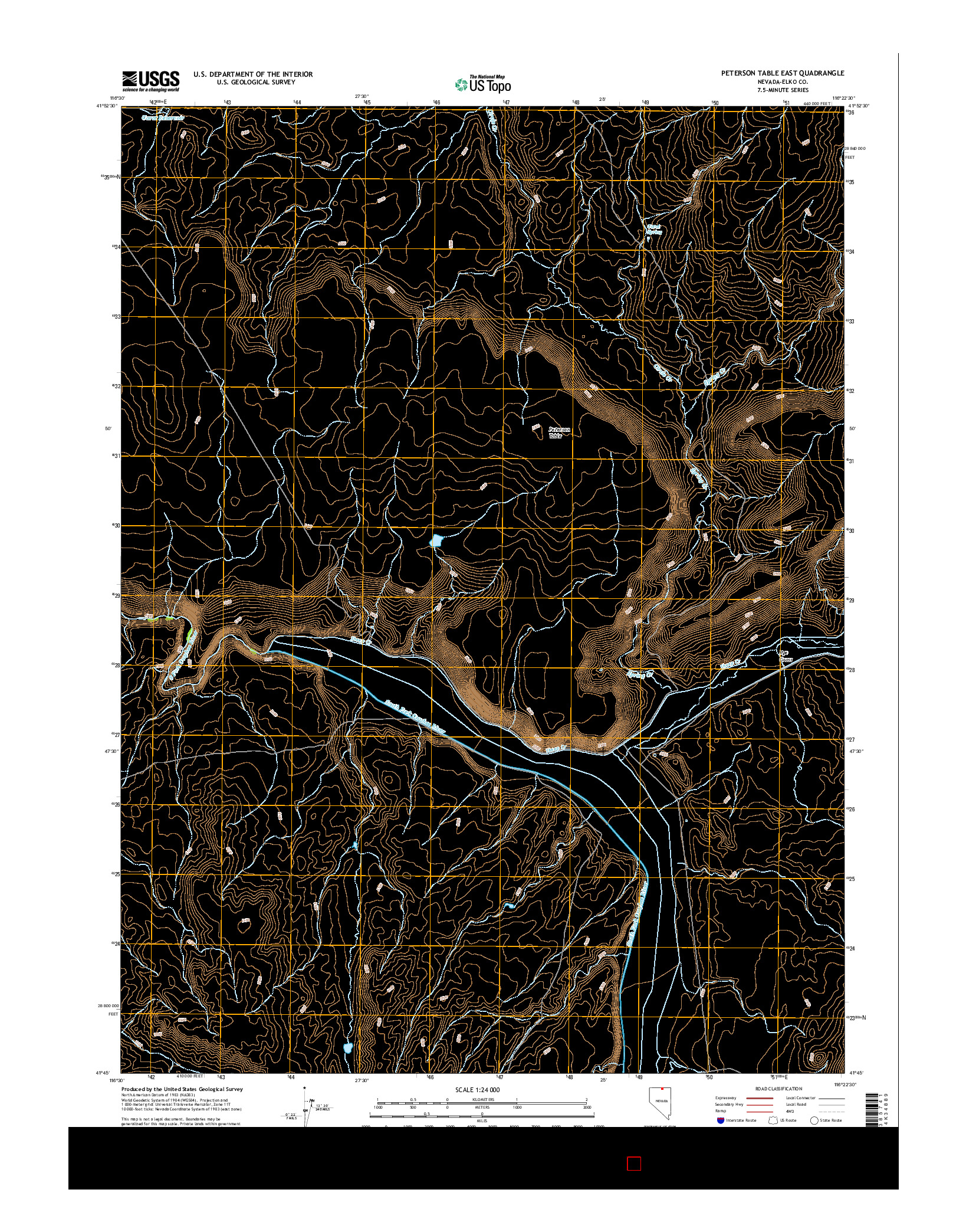 USGS US TOPO 7.5-MINUTE MAP FOR PETERSON TABLE EAST, NV 2014