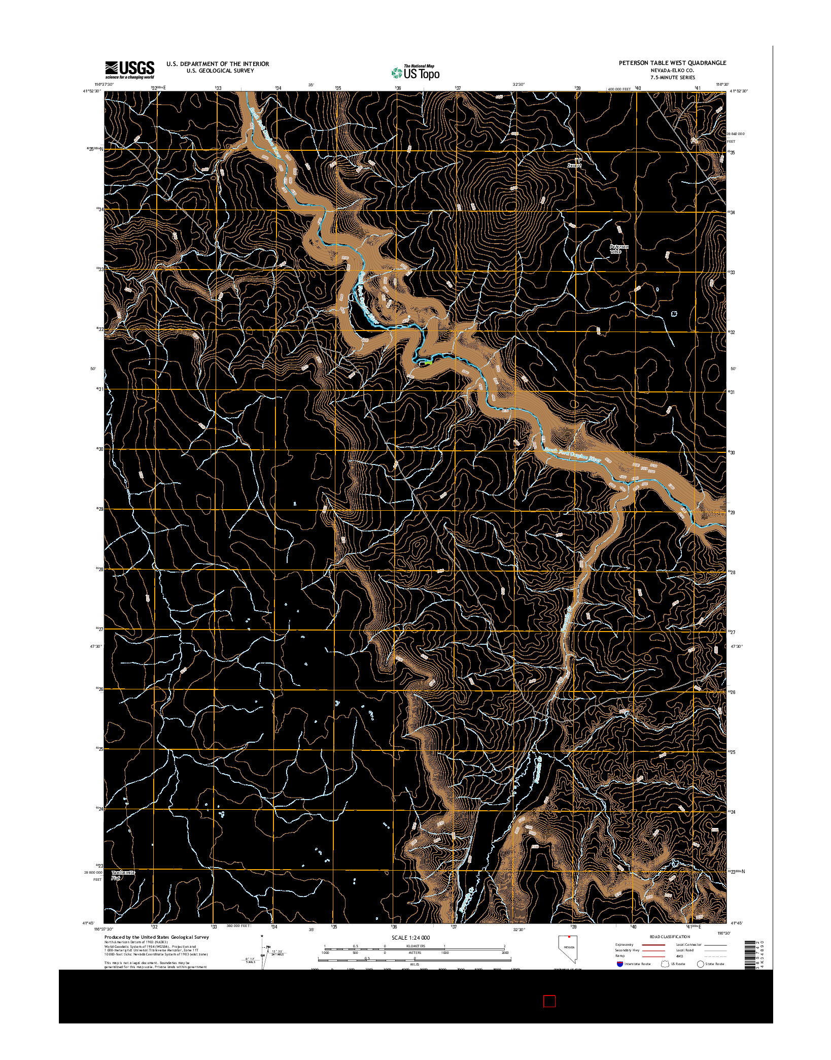 USGS US TOPO 7.5-MINUTE MAP FOR PETERSON TABLE WEST, NV 2014