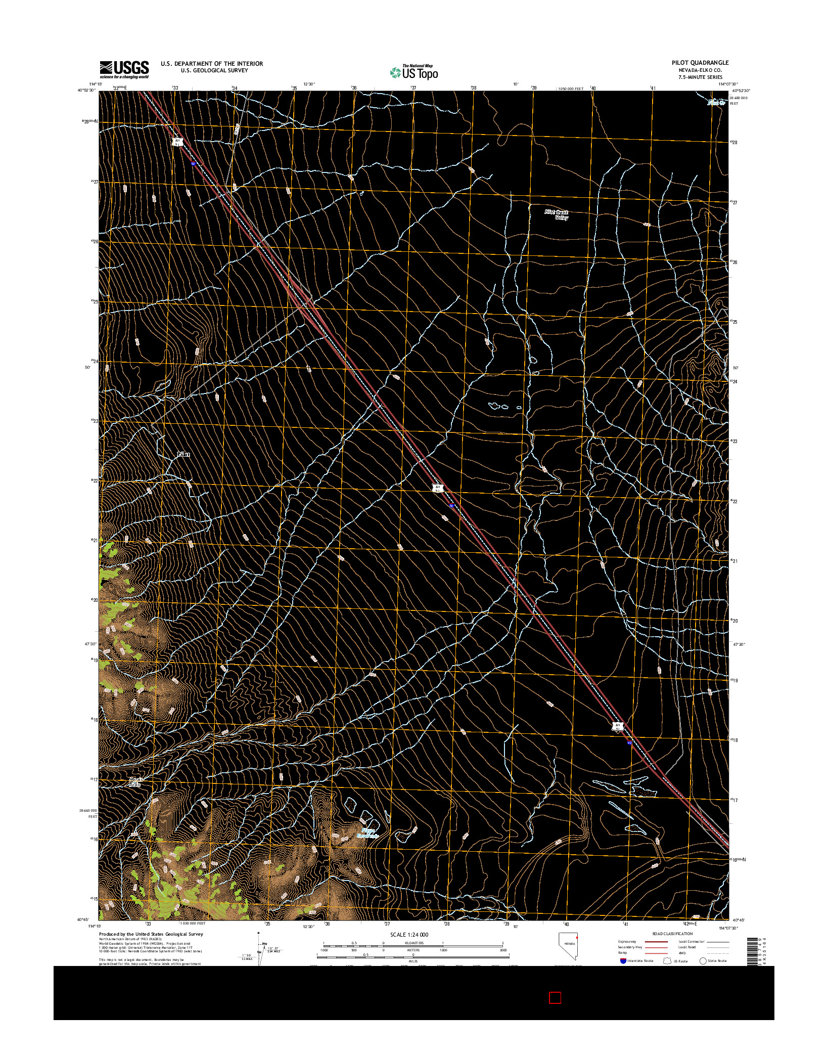 USGS US TOPO 7.5-MINUTE MAP FOR PILOT, NV 2014