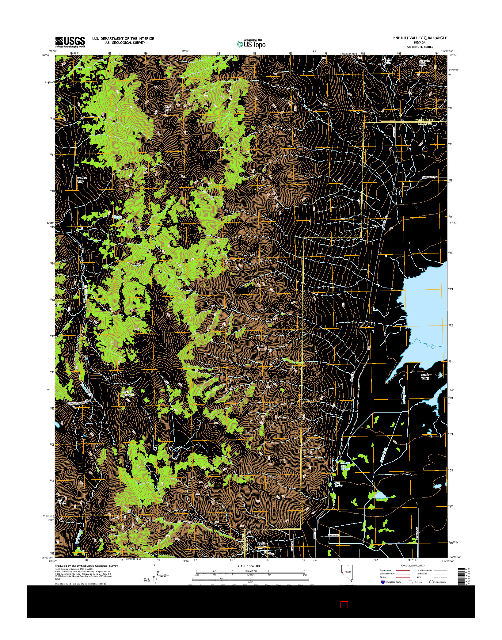 USGS US TOPO 7.5-MINUTE MAP FOR PINE NUT VALLEY, NV 2014