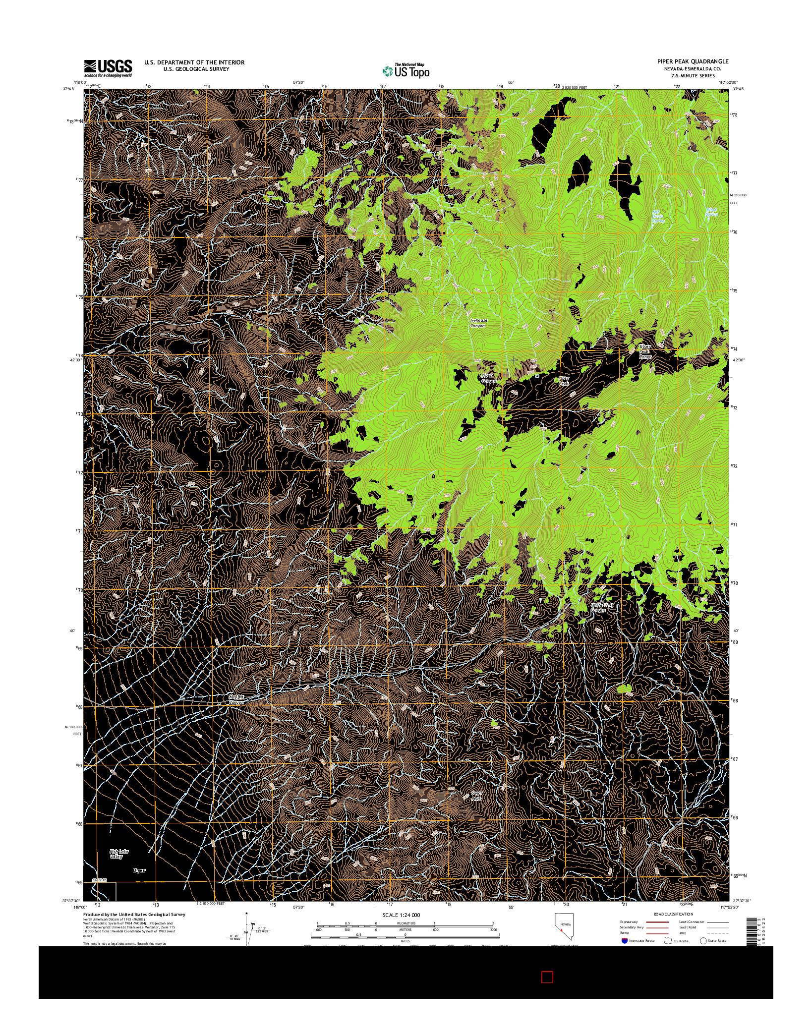 USGS US TOPO 7.5-MINUTE MAP FOR PIPER PEAK, NV 2014