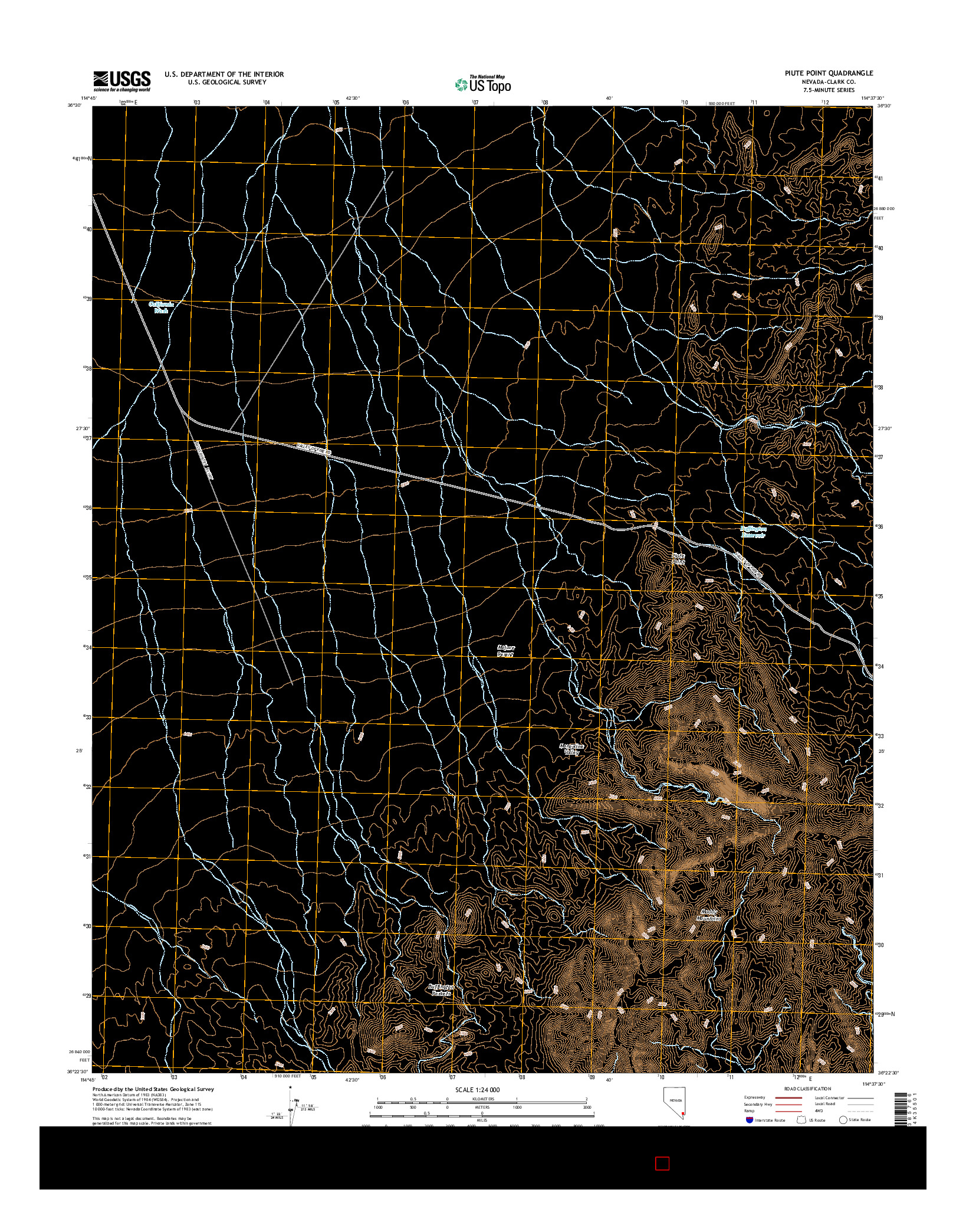 USGS US TOPO 7.5-MINUTE MAP FOR PIUTE POINT, NV 2014