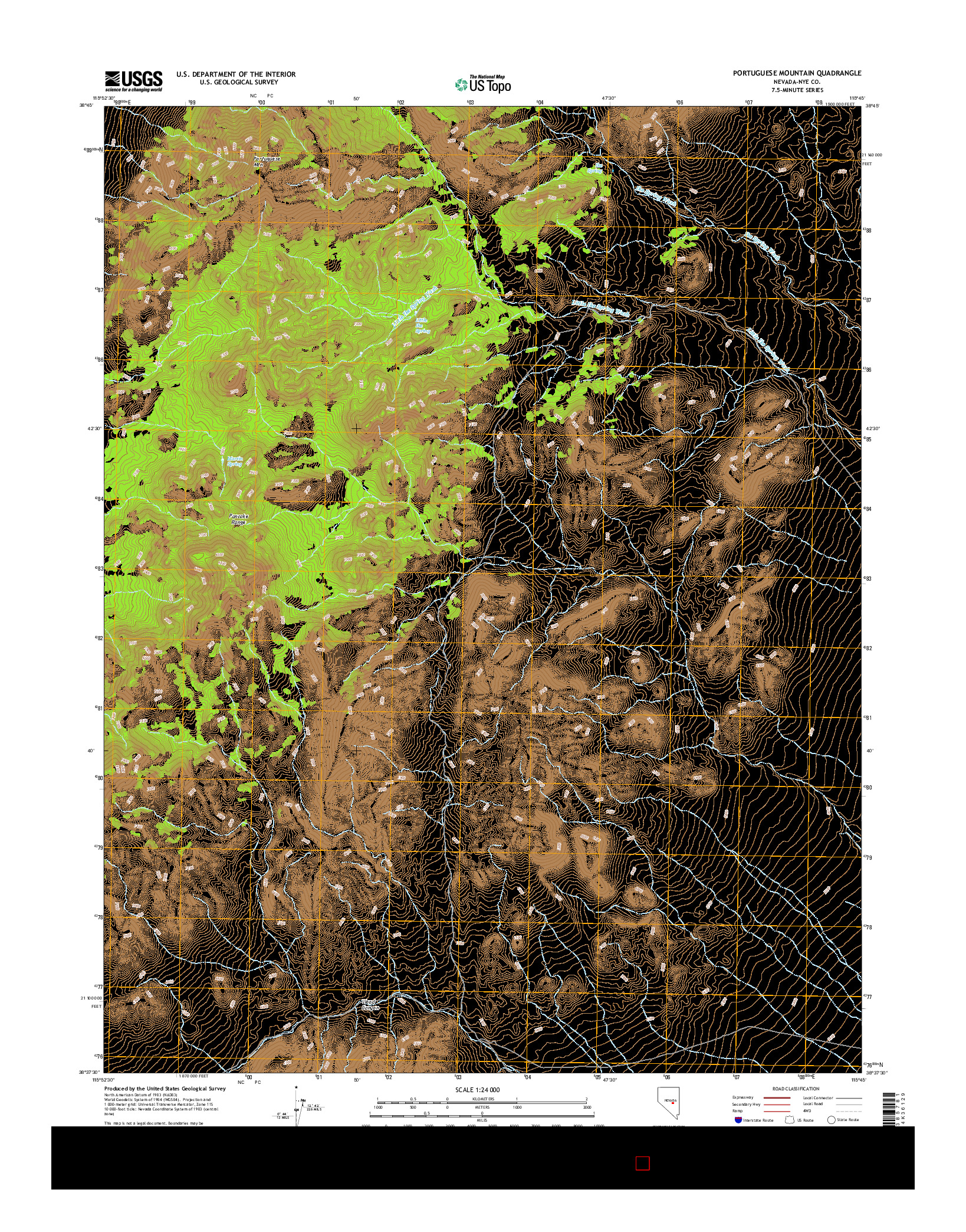 USGS US TOPO 7.5-MINUTE MAP FOR PORTUGUESE MOUNTAIN, NV 2014