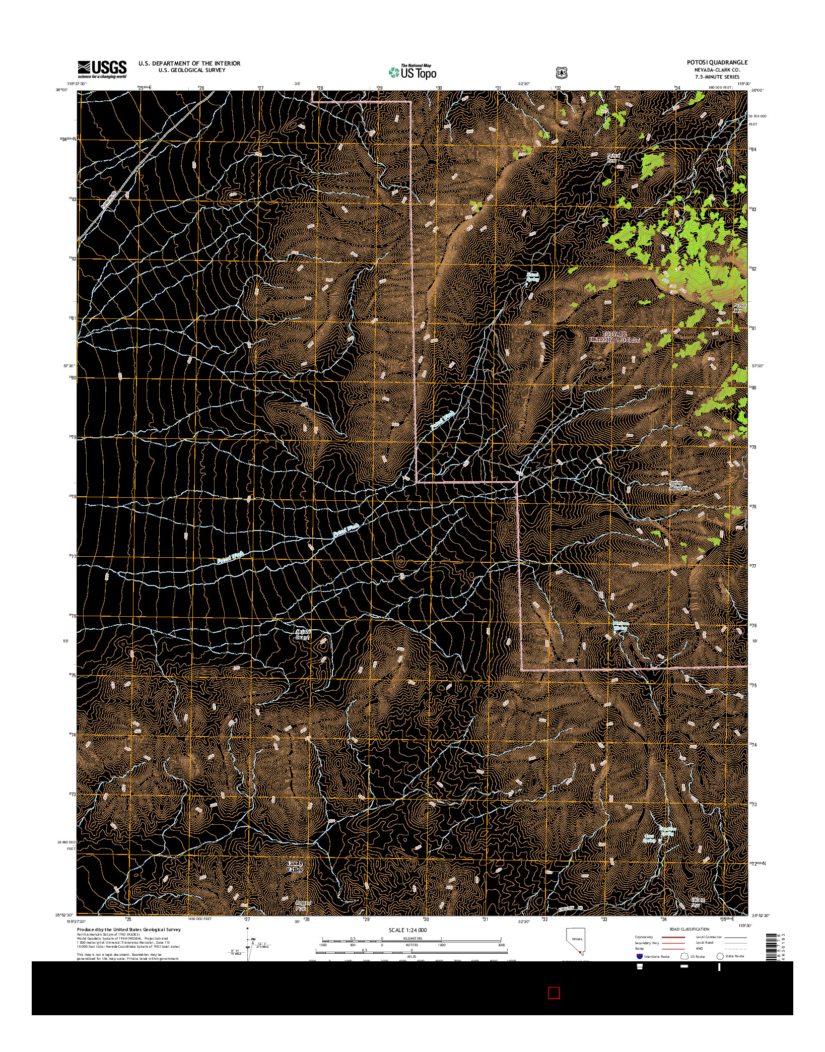 USGS US TOPO 7.5-MINUTE MAP FOR POTOSI, NV 2014