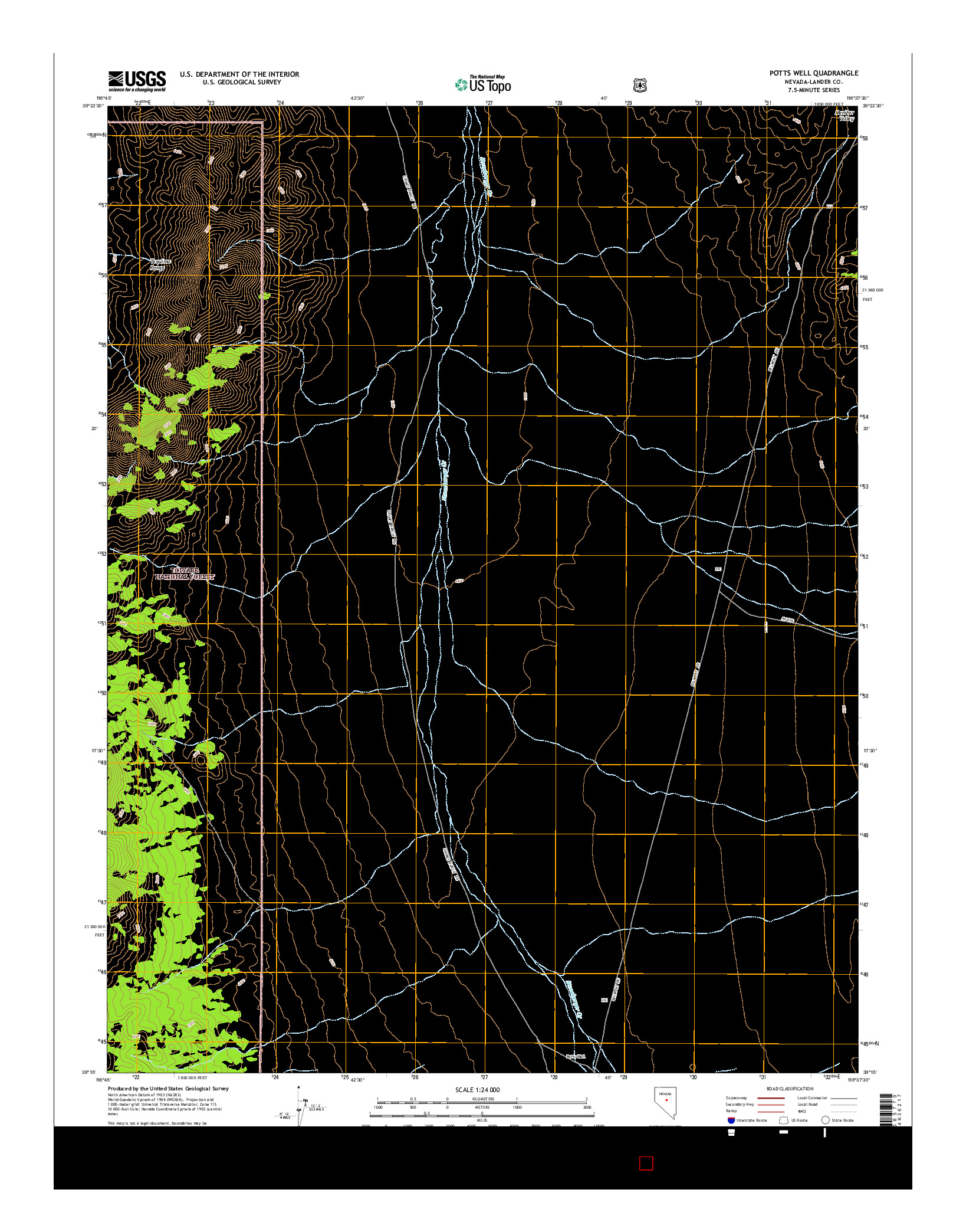 USGS US TOPO 7.5-MINUTE MAP FOR POTTS WELL, NV 2014