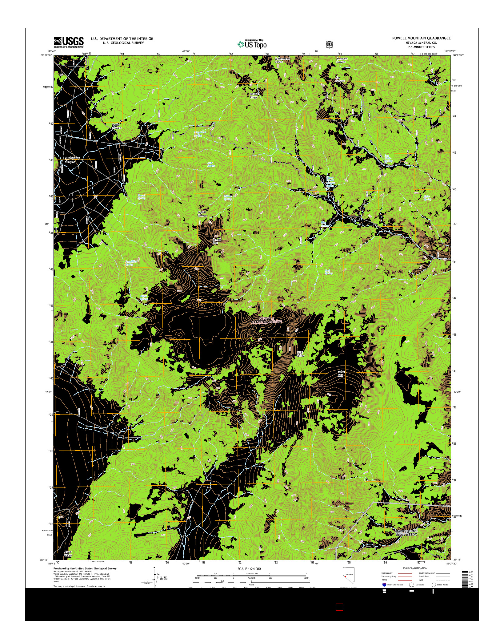 USGS US TOPO 7.5-MINUTE MAP FOR POWELL MOUNTAIN, NV 2014