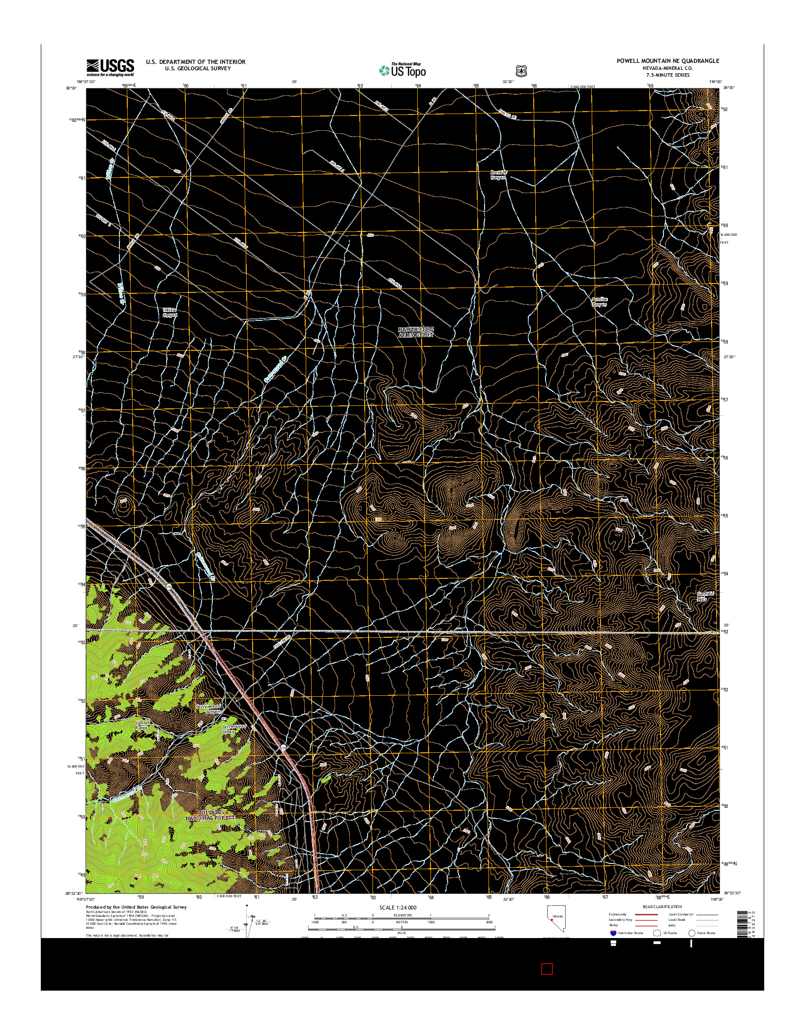 USGS US TOPO 7.5-MINUTE MAP FOR POWELL MOUNTAIN NE, NV 2014