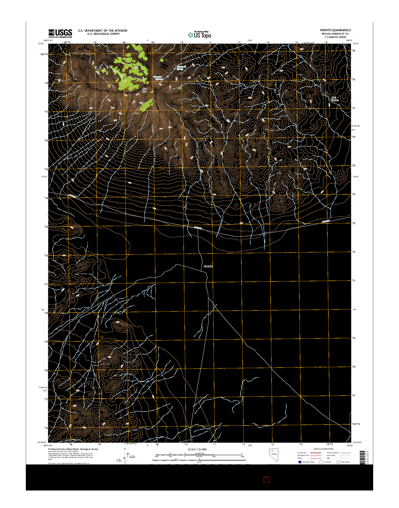 USGS US TOPO 7.5-MINUTE MAP FOR PRONTO, NV 2014