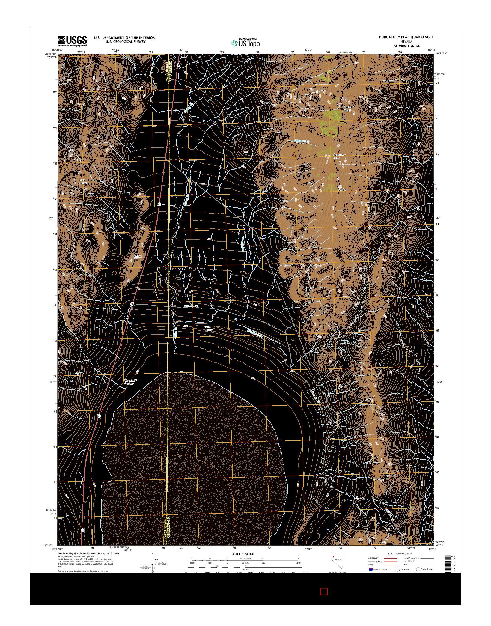 USGS US TOPO 7.5-MINUTE MAP FOR PURGATORY PEAK, NV 2014