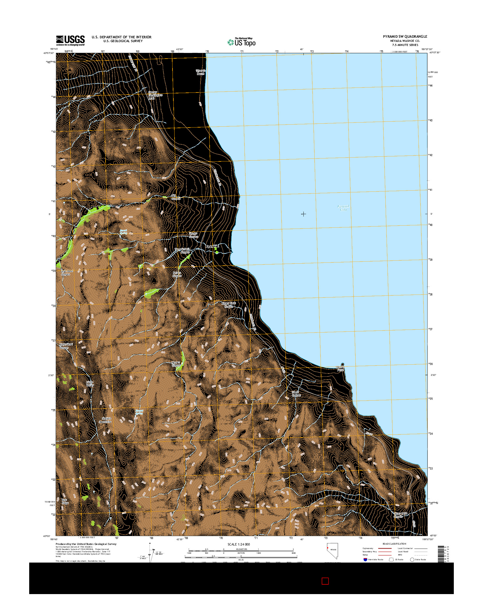 USGS US TOPO 7.5-MINUTE MAP FOR PYRAMID SW, NV 2014