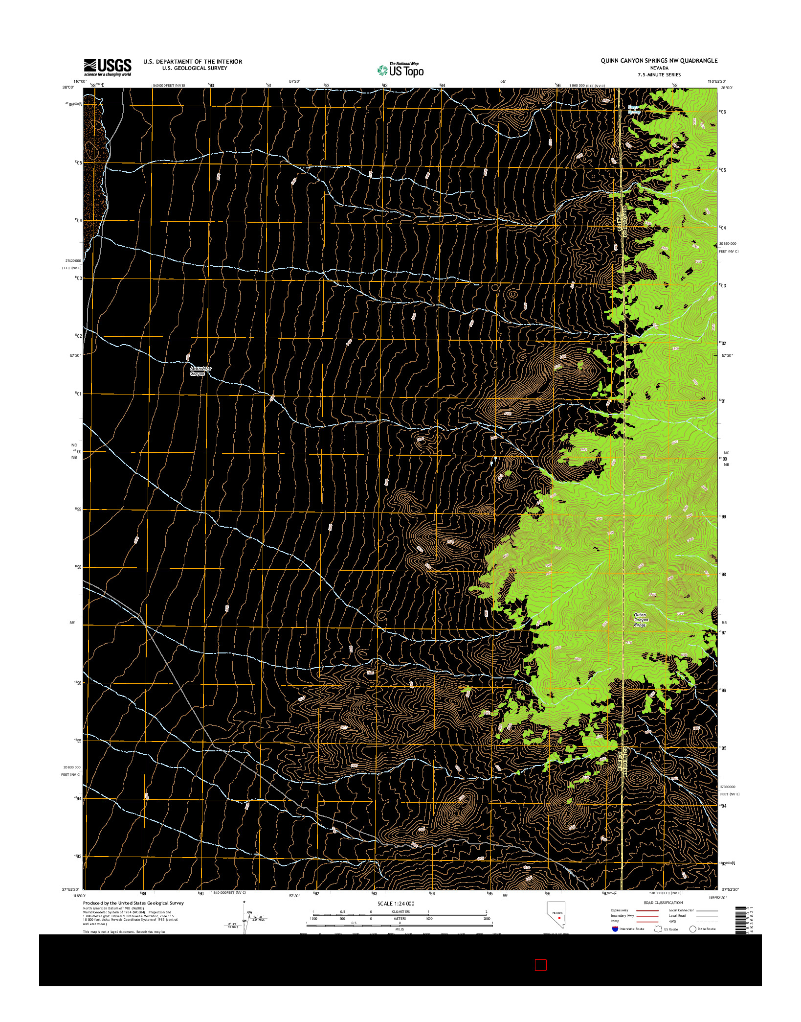USGS US TOPO 7.5-MINUTE MAP FOR QUINN CANYON SPRINGS NW, NV 2014