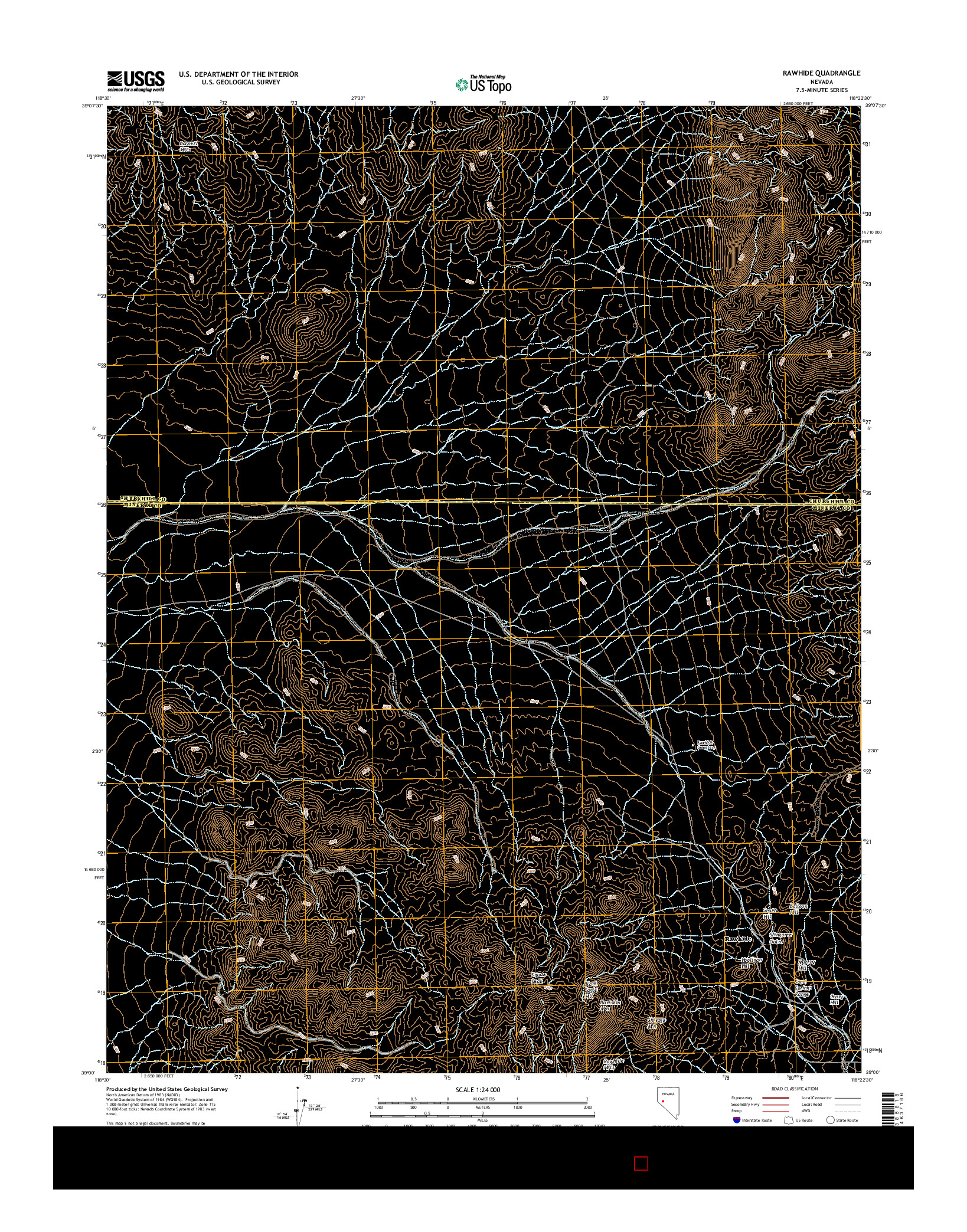 USGS US TOPO 7.5-MINUTE MAP FOR RAWHIDE, NV 2014