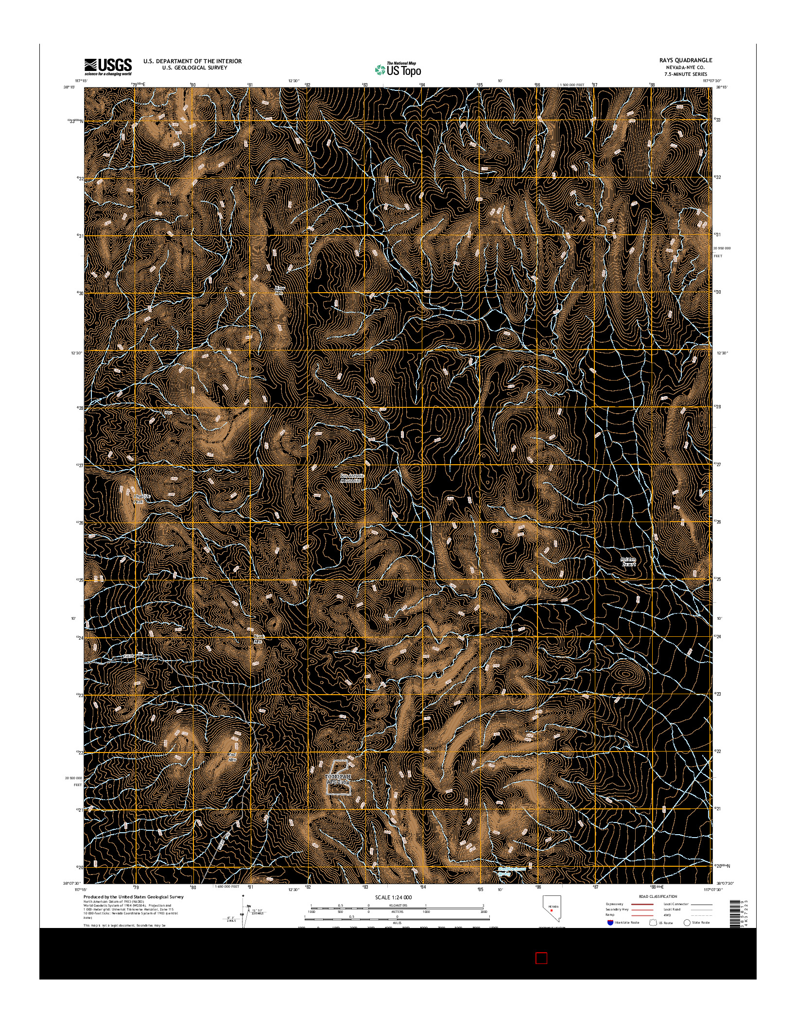 USGS US TOPO 7.5-MINUTE MAP FOR RAYS, NV 2014