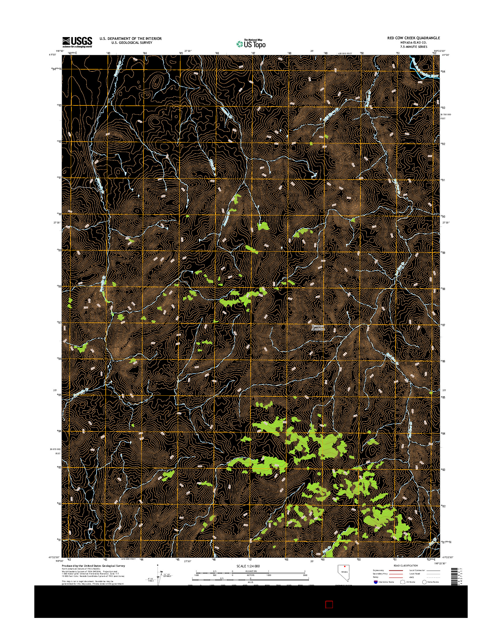 USGS US TOPO 7.5-MINUTE MAP FOR RED COW CREEK, NV 2014
