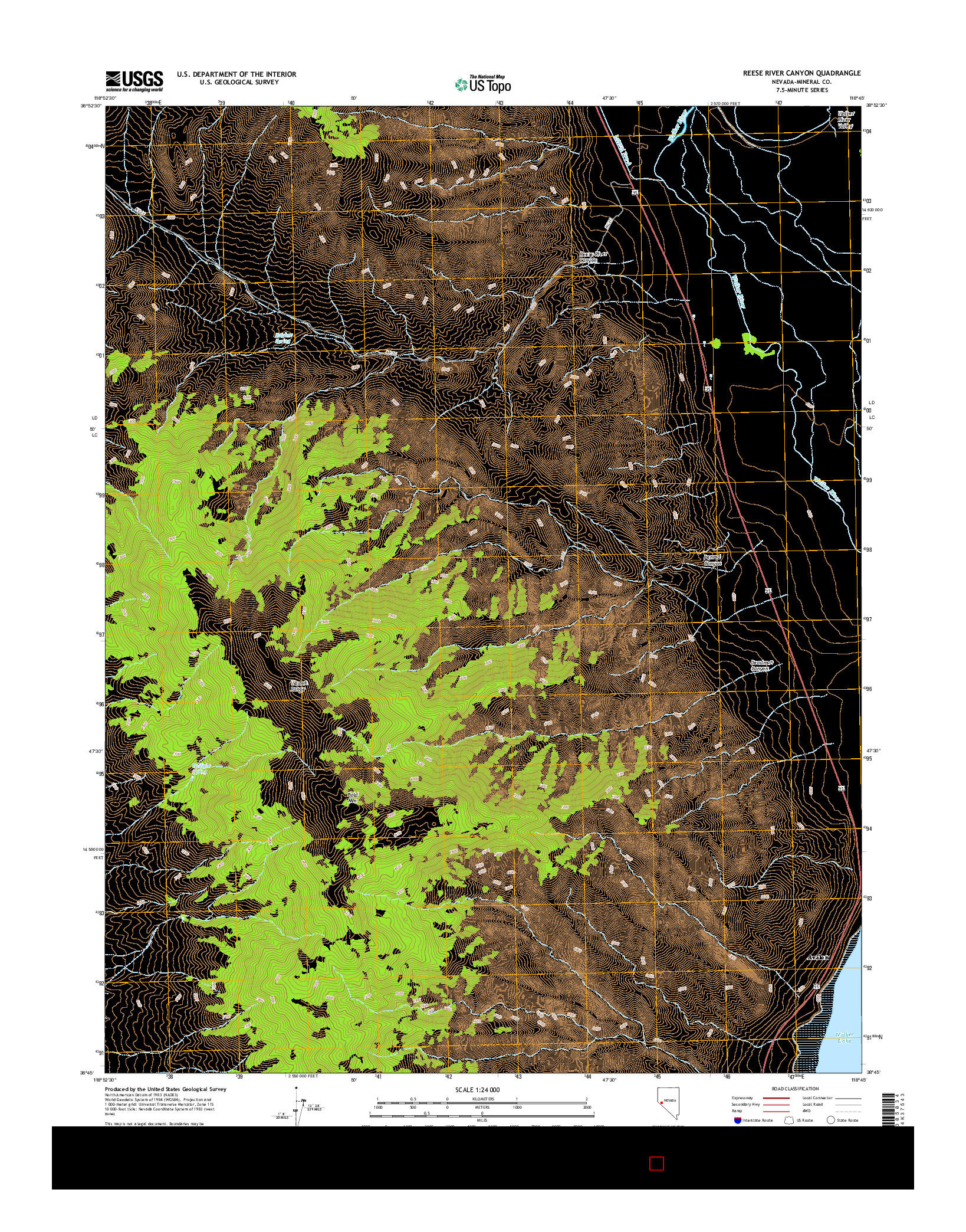 USGS US TOPO 7.5-MINUTE MAP FOR REESE RIVER CANYON, NV 2014