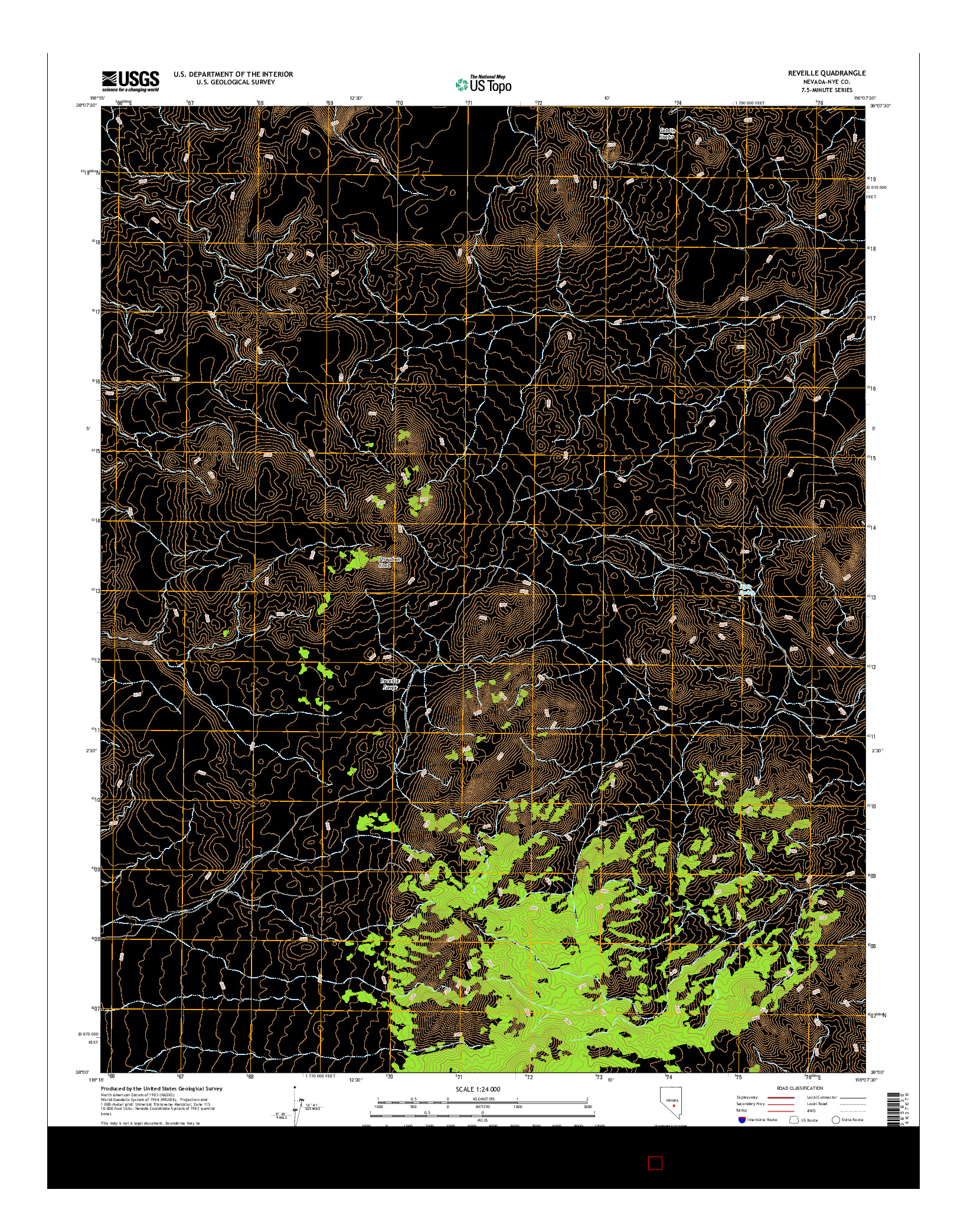 USGS US TOPO 7.5-MINUTE MAP FOR REVEILLE, NV 2014