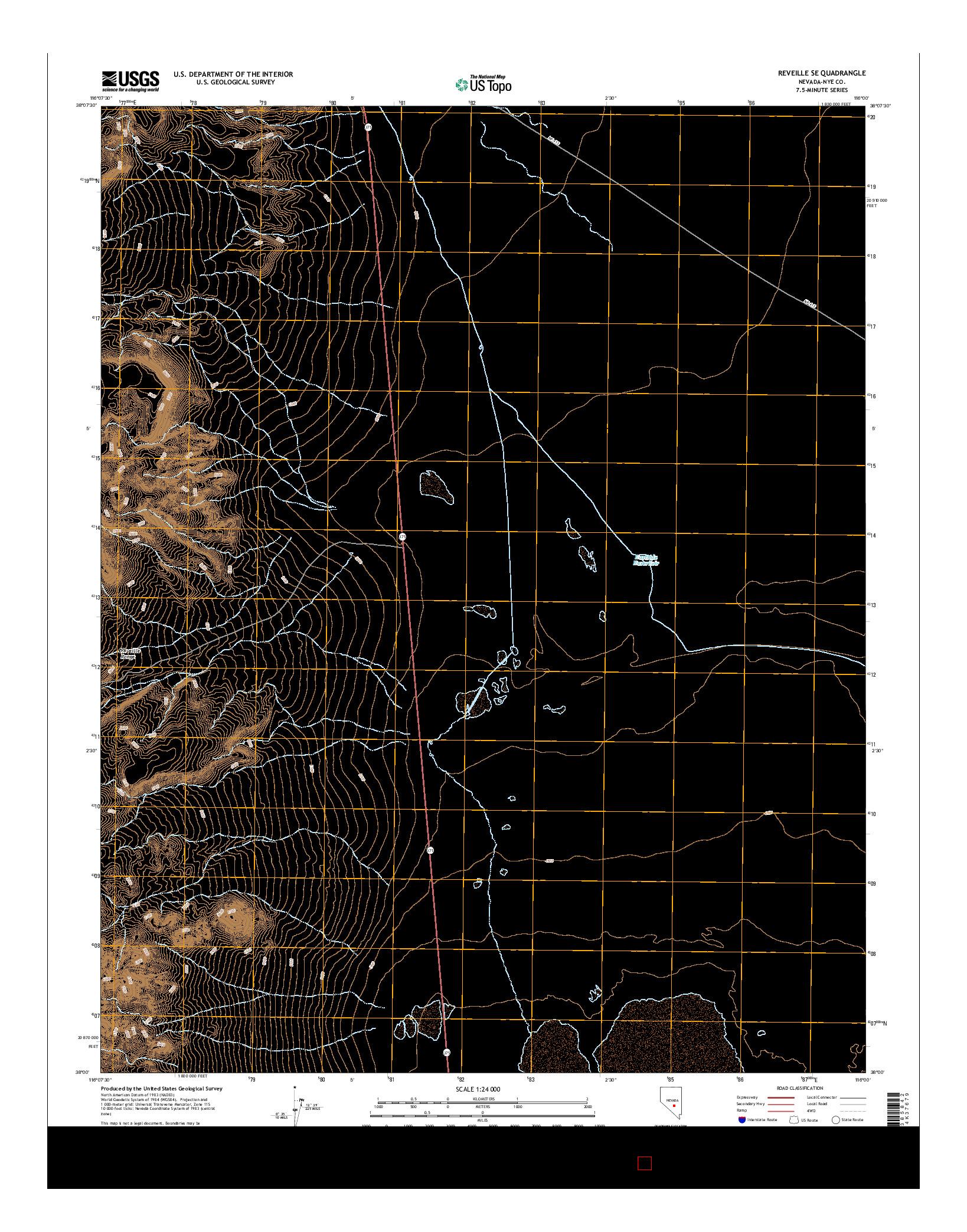 USGS US TOPO 7.5-MINUTE MAP FOR REVEILLE SE, NV 2014