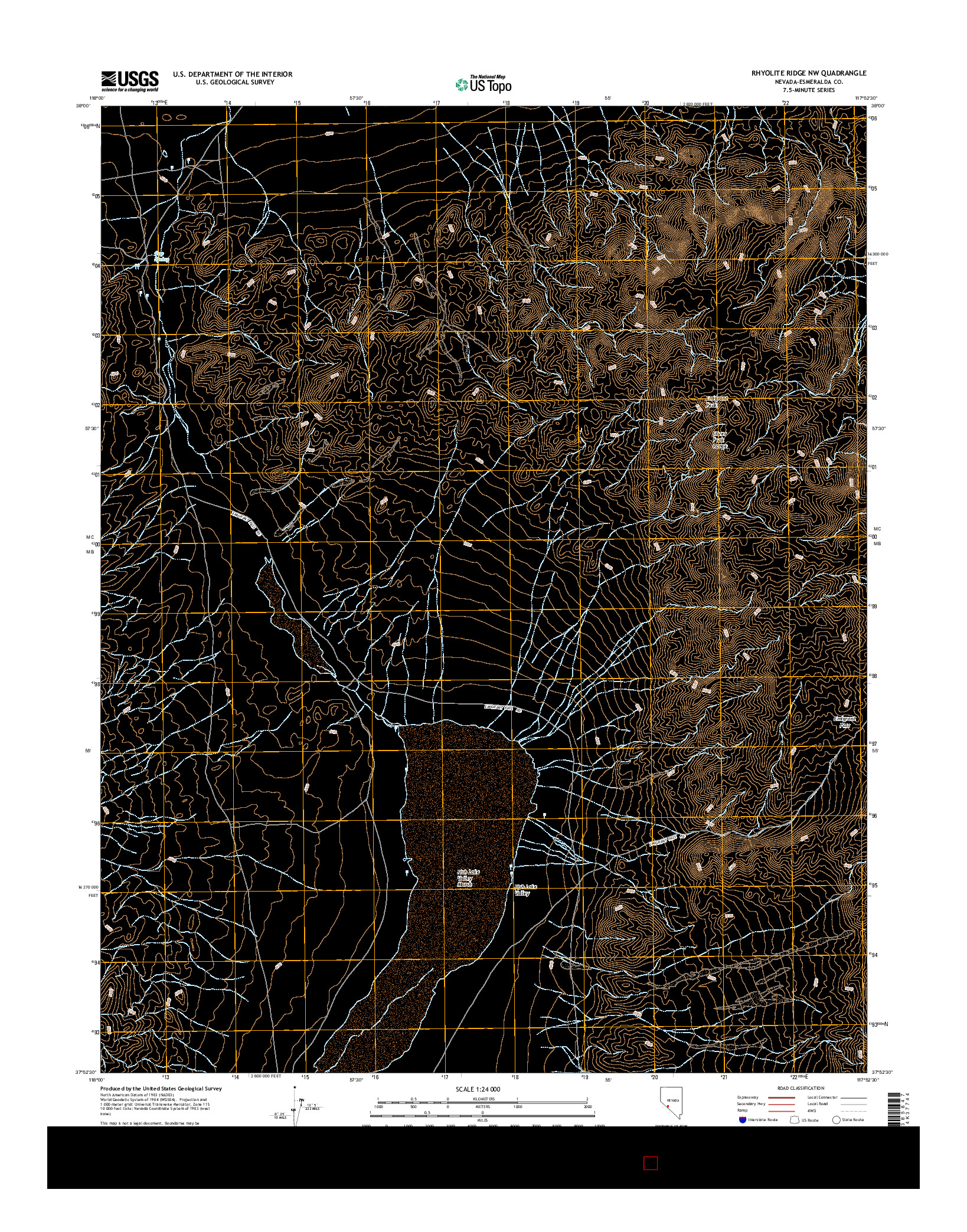 USGS US TOPO 7.5-MINUTE MAP FOR RHYOLITE RIDGE NW, NV 2014