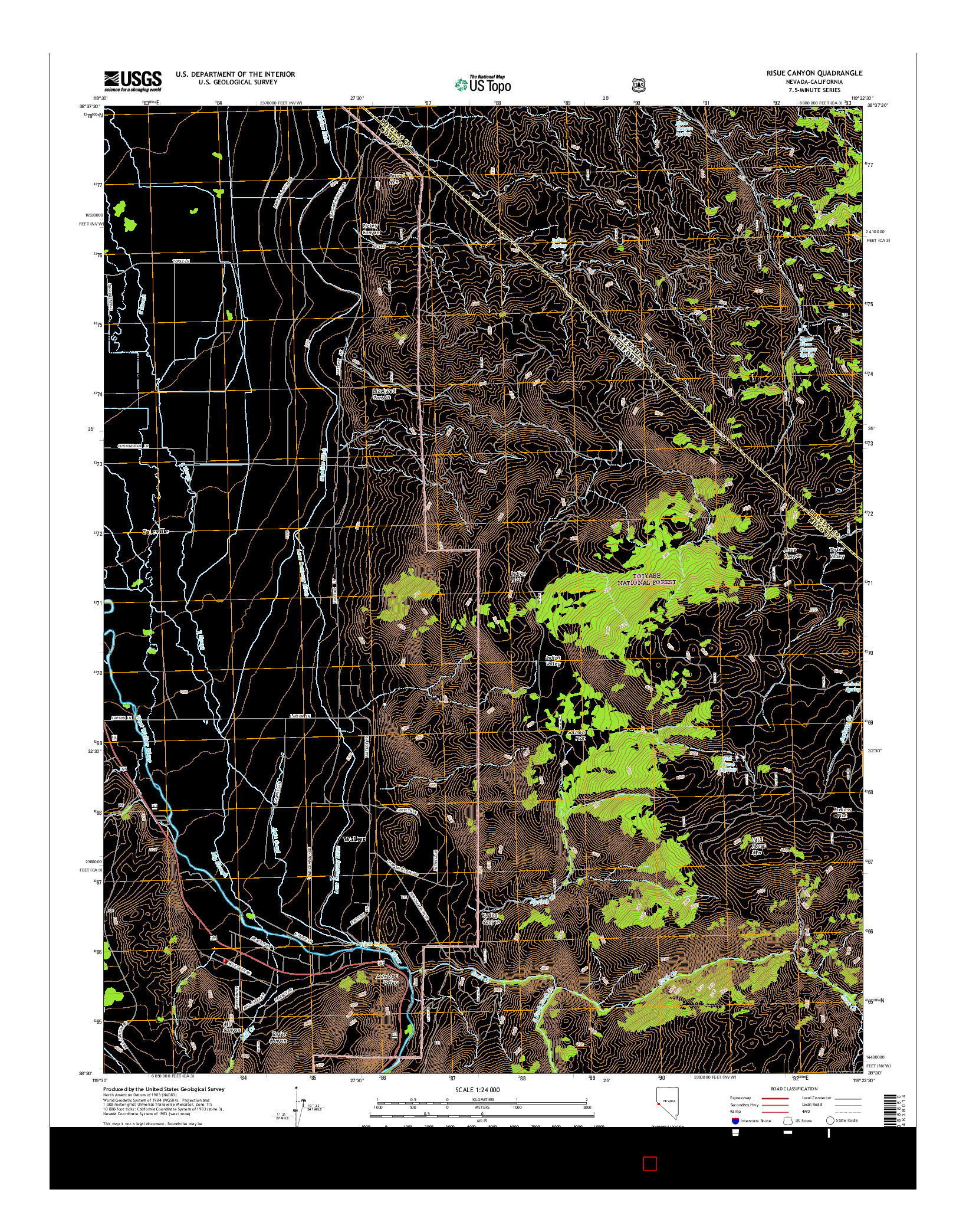 USGS US TOPO 7.5-MINUTE MAP FOR RISUE CANYON, NV-CA 2014