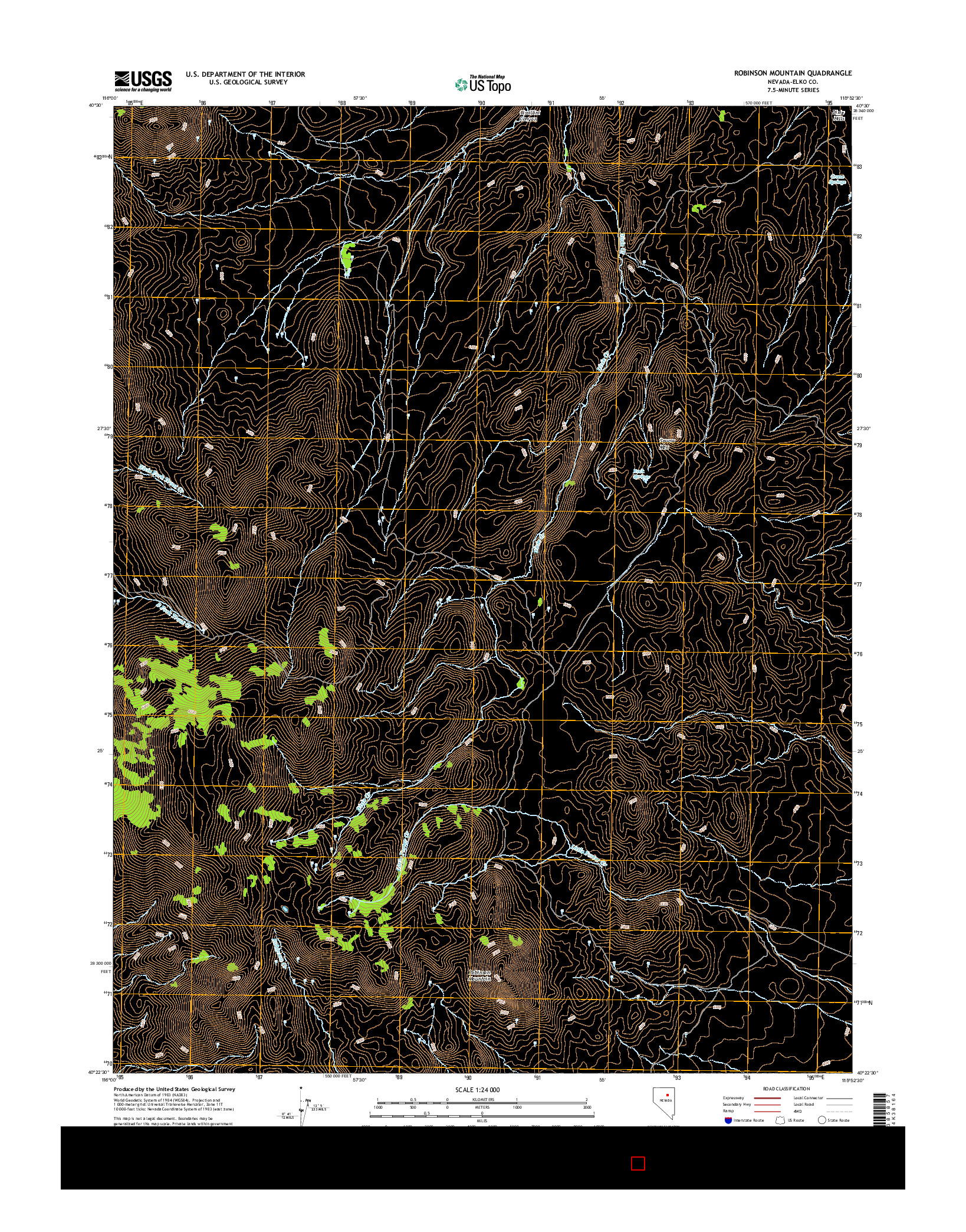 USGS US TOPO 7.5-MINUTE MAP FOR ROBINSON MOUNTAIN, NV 2014