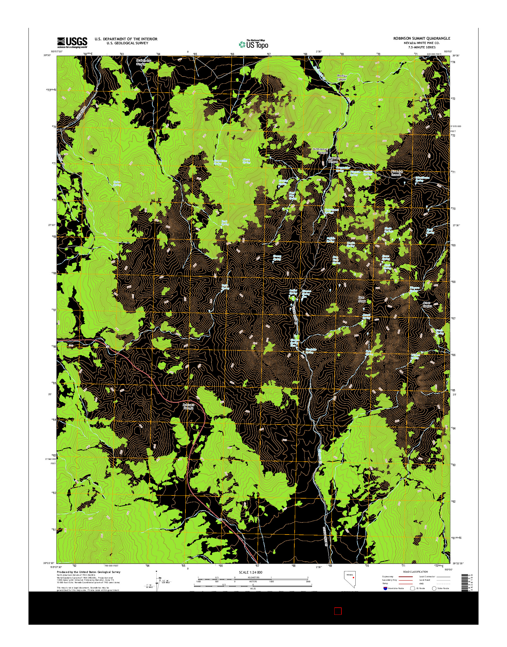 USGS US TOPO 7.5-MINUTE MAP FOR ROBINSON SUMMIT, NV 2014