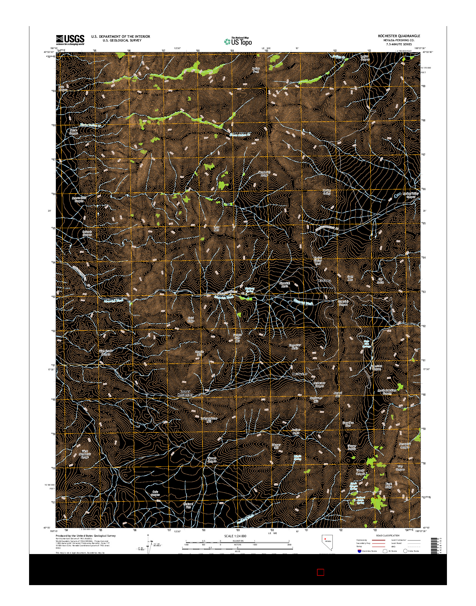 USGS US TOPO 7.5-MINUTE MAP FOR ROCHESTER, NV 2014