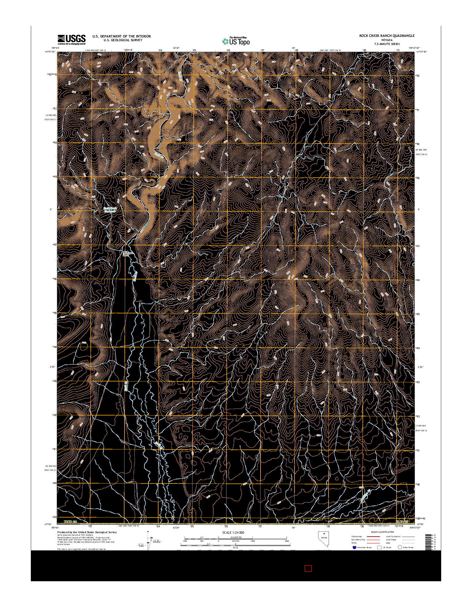 USGS US TOPO 7.5-MINUTE MAP FOR ROCK CREEK RANCH, NV 2014