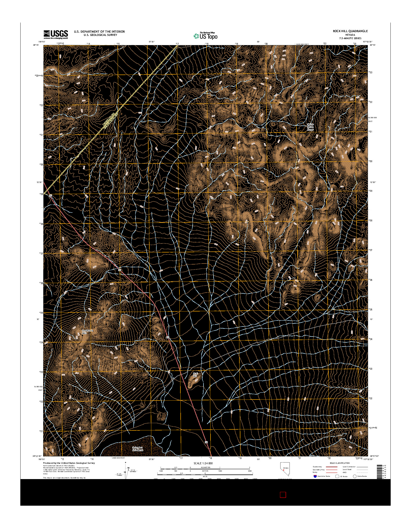 USGS US TOPO 7.5-MINUTE MAP FOR ROCK HILL, NV 2014