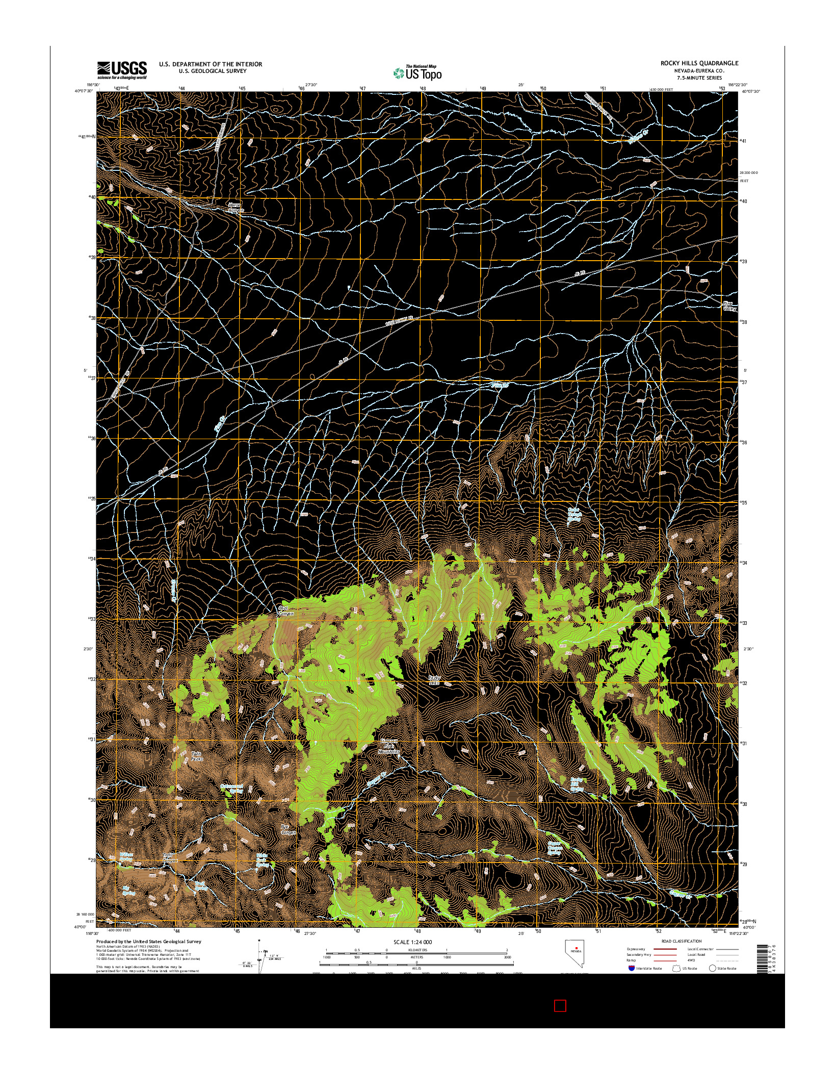 USGS US TOPO 7.5-MINUTE MAP FOR ROCKY HILLS, NV 2014
