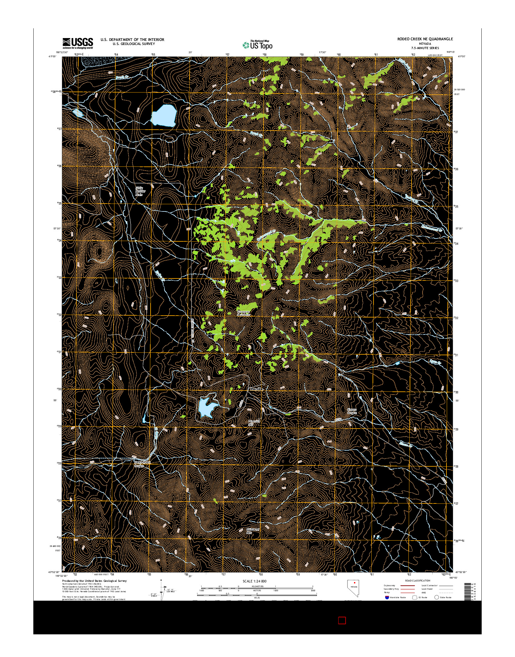 USGS US TOPO 7.5-MINUTE MAP FOR RODEO CREEK NE, NV 2014