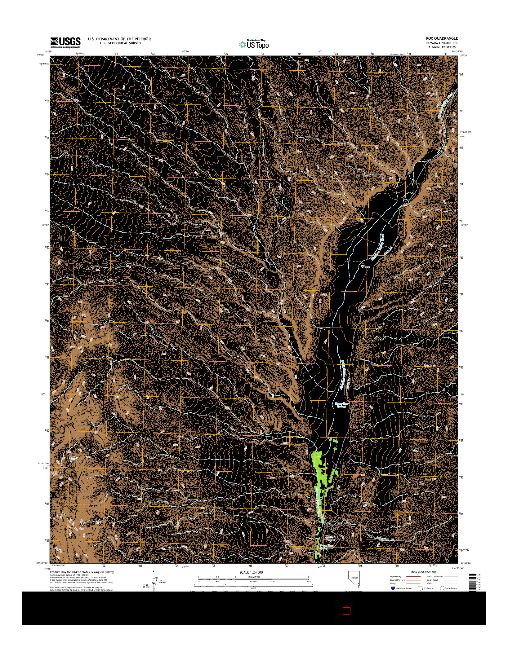 USGS US TOPO 7.5-MINUTE MAP FOR ROX, NV 2014