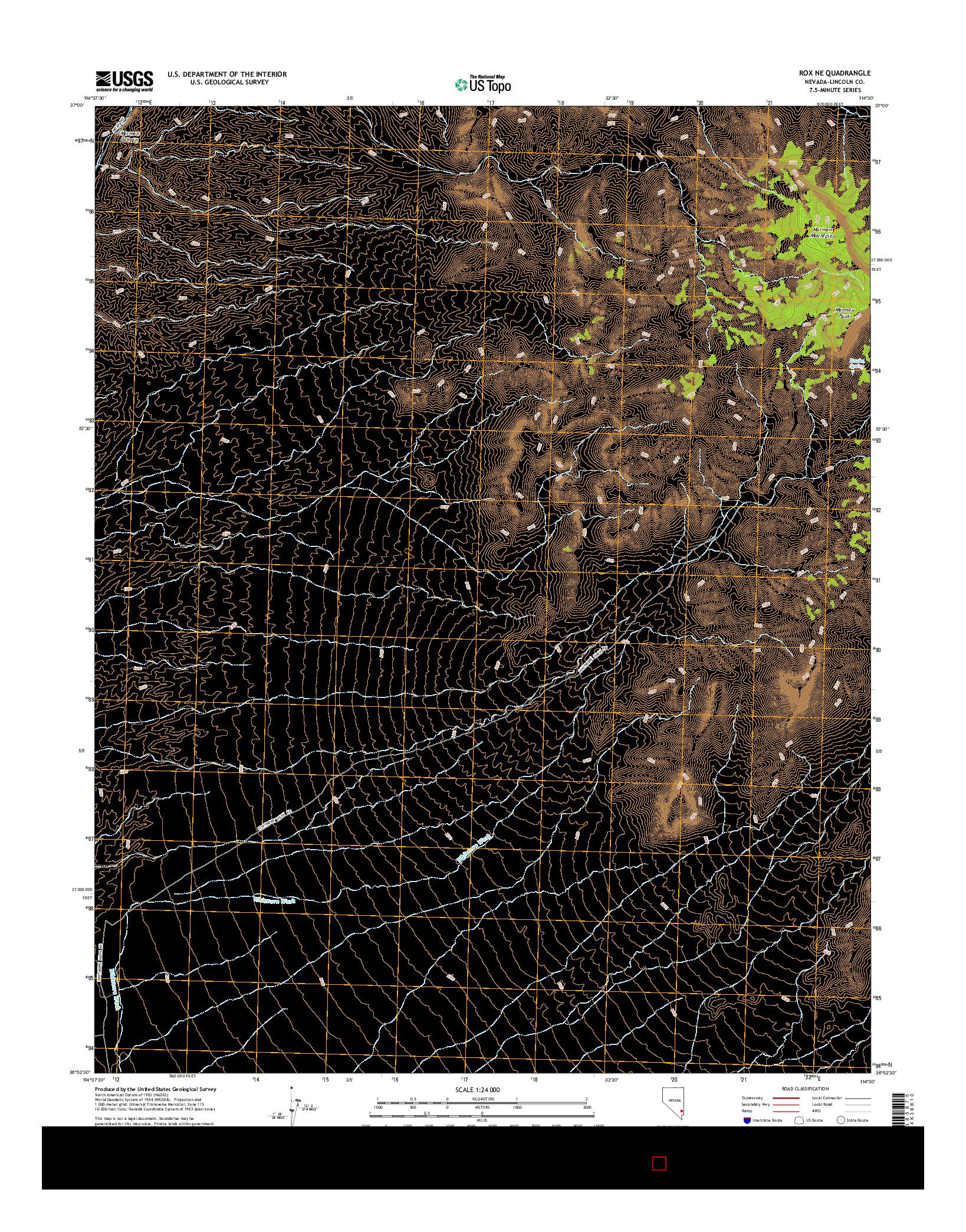 USGS US TOPO 7.5-MINUTE MAP FOR ROX NE, NV 2014