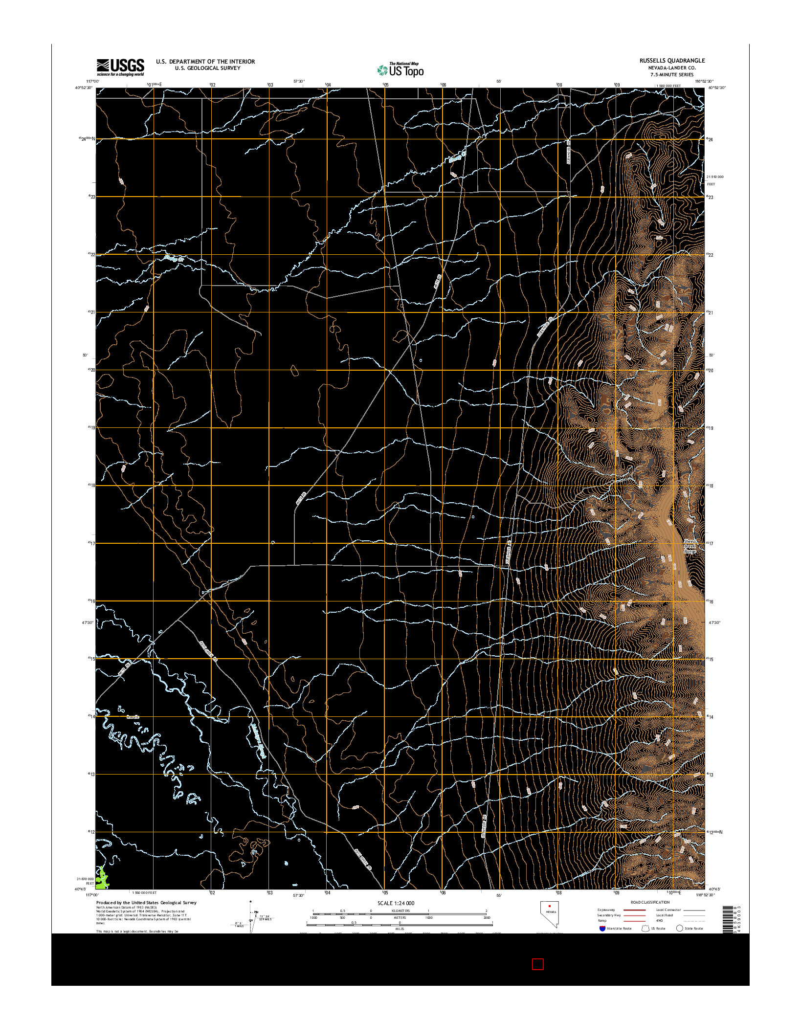 USGS US TOPO 7.5-MINUTE MAP FOR RUSSELLS, NV 2014