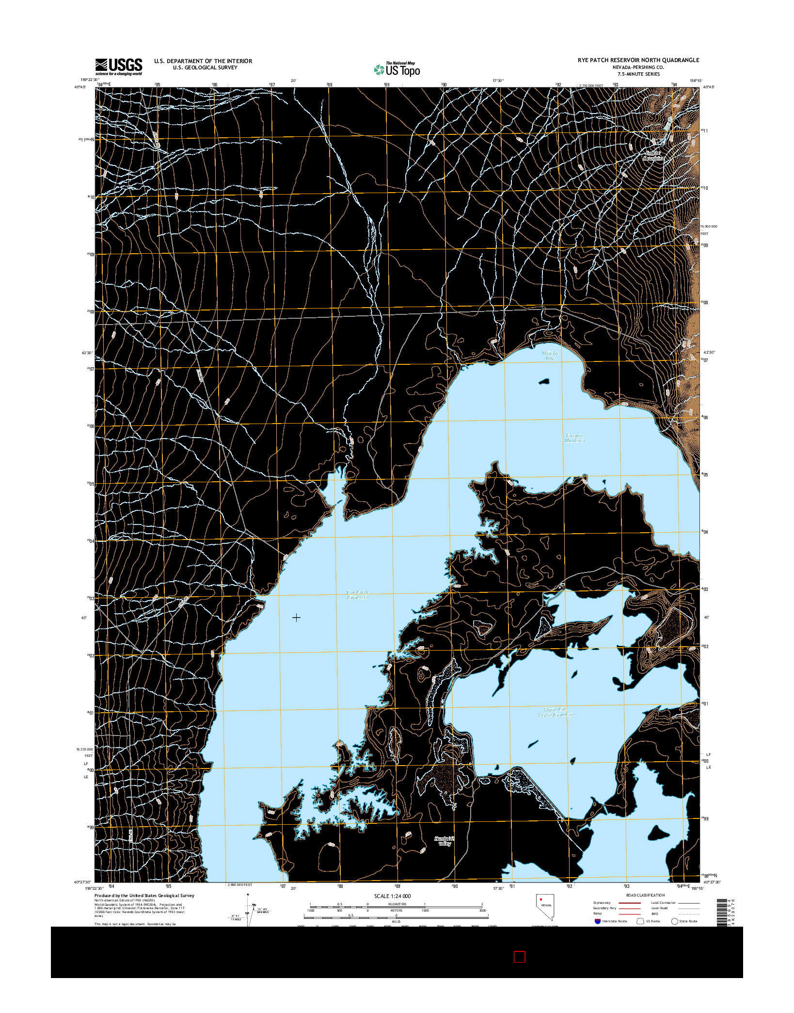 USGS US TOPO 7.5-MINUTE MAP FOR RYE PATCH RESERVOIR NORTH, NV 2014